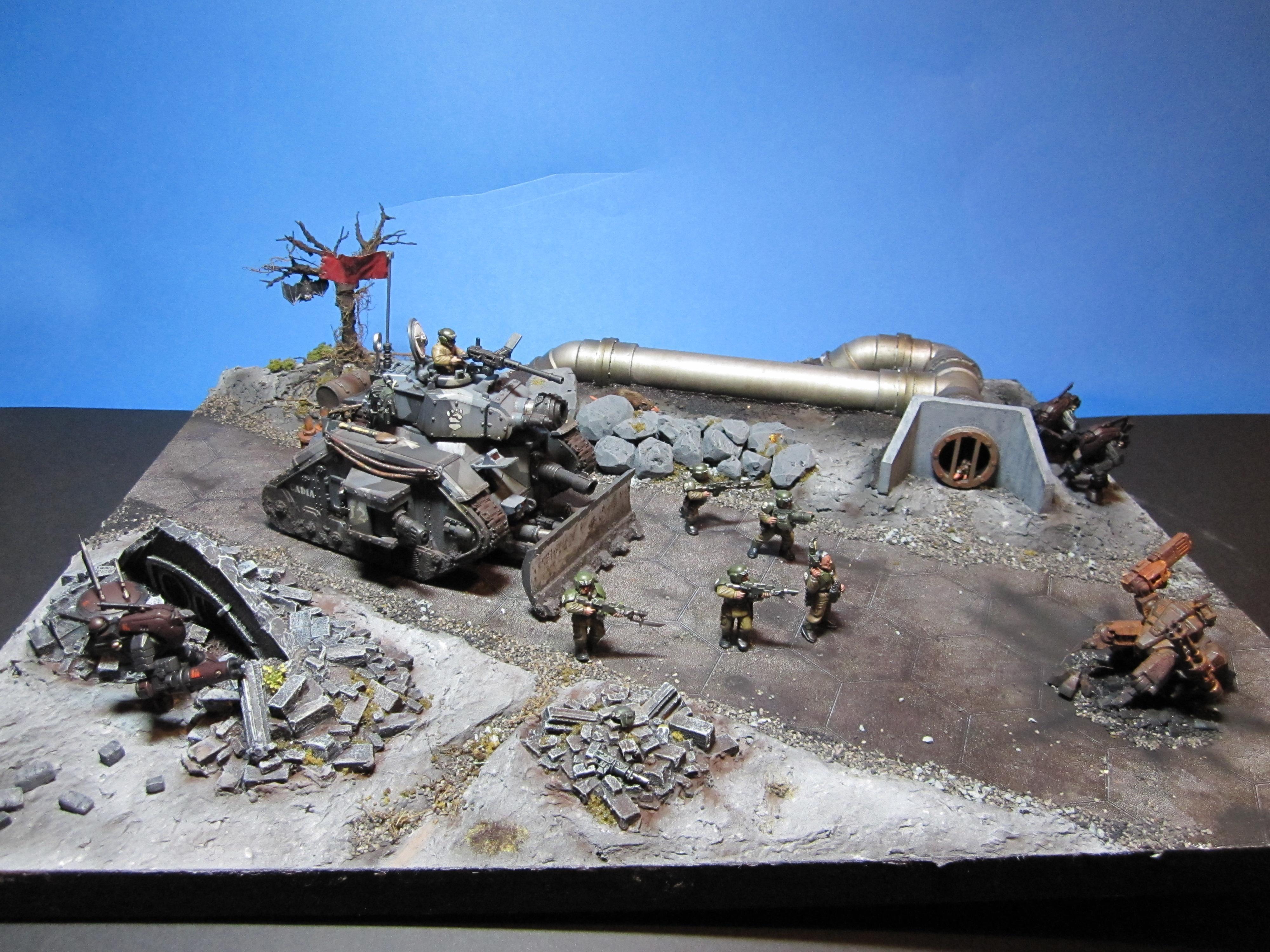 Diarama, Display, Imperial, Leman Russ, Ruins, Russ, Tank, Vingete