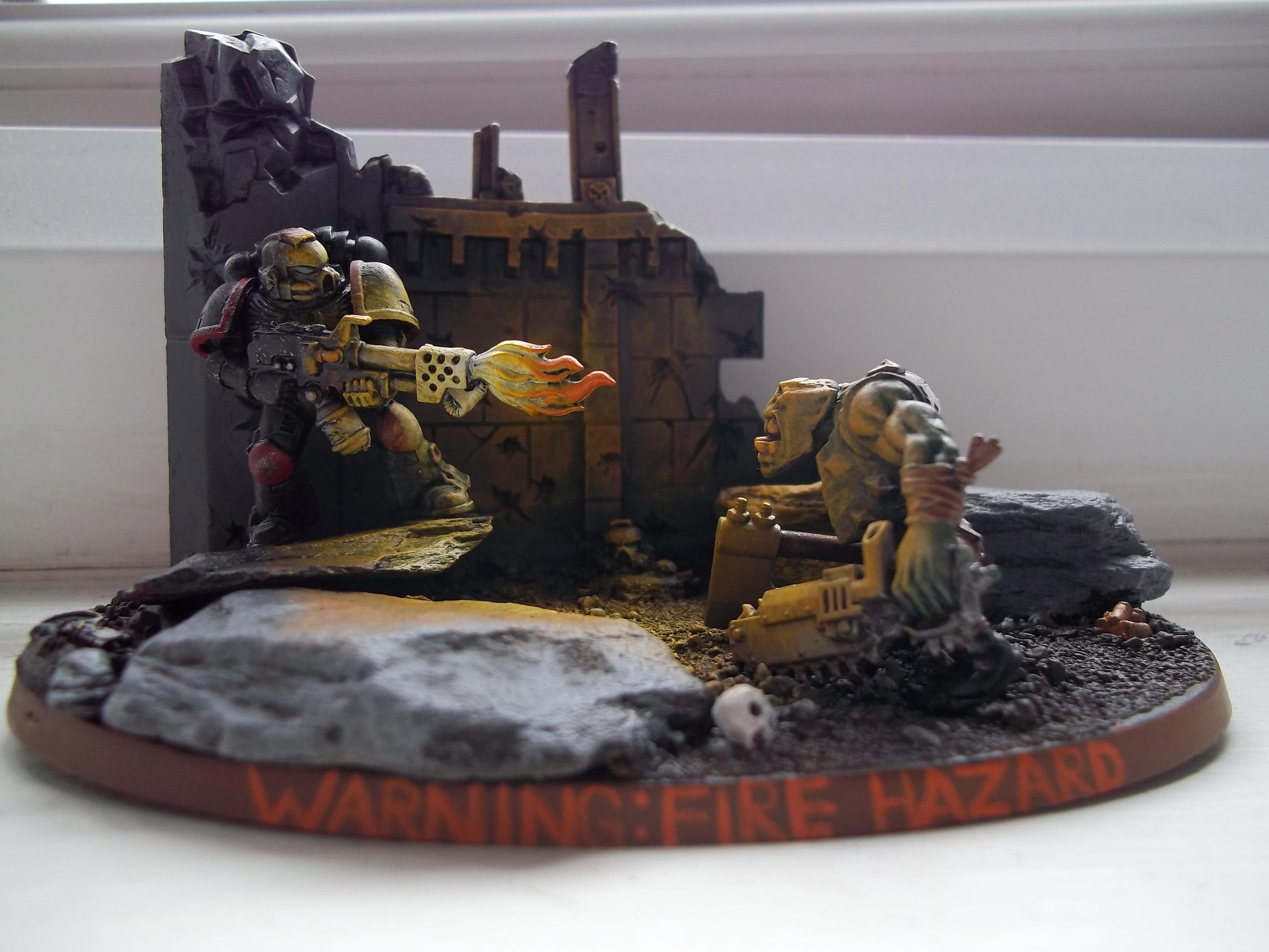 Diorama, Flamethrower, Object Source Lighting, Orks, Space Marines