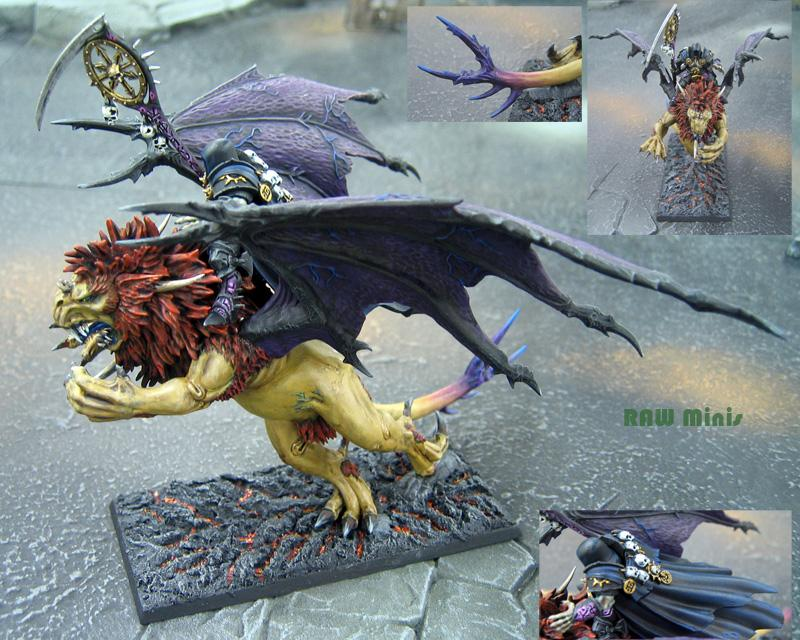 Chaos, Chaos Lord, Chaos Sorcerer Lord, Manticore, Monster, Painting, Sorcerer, Warhammer Fantasy, Warriors Of Chaos