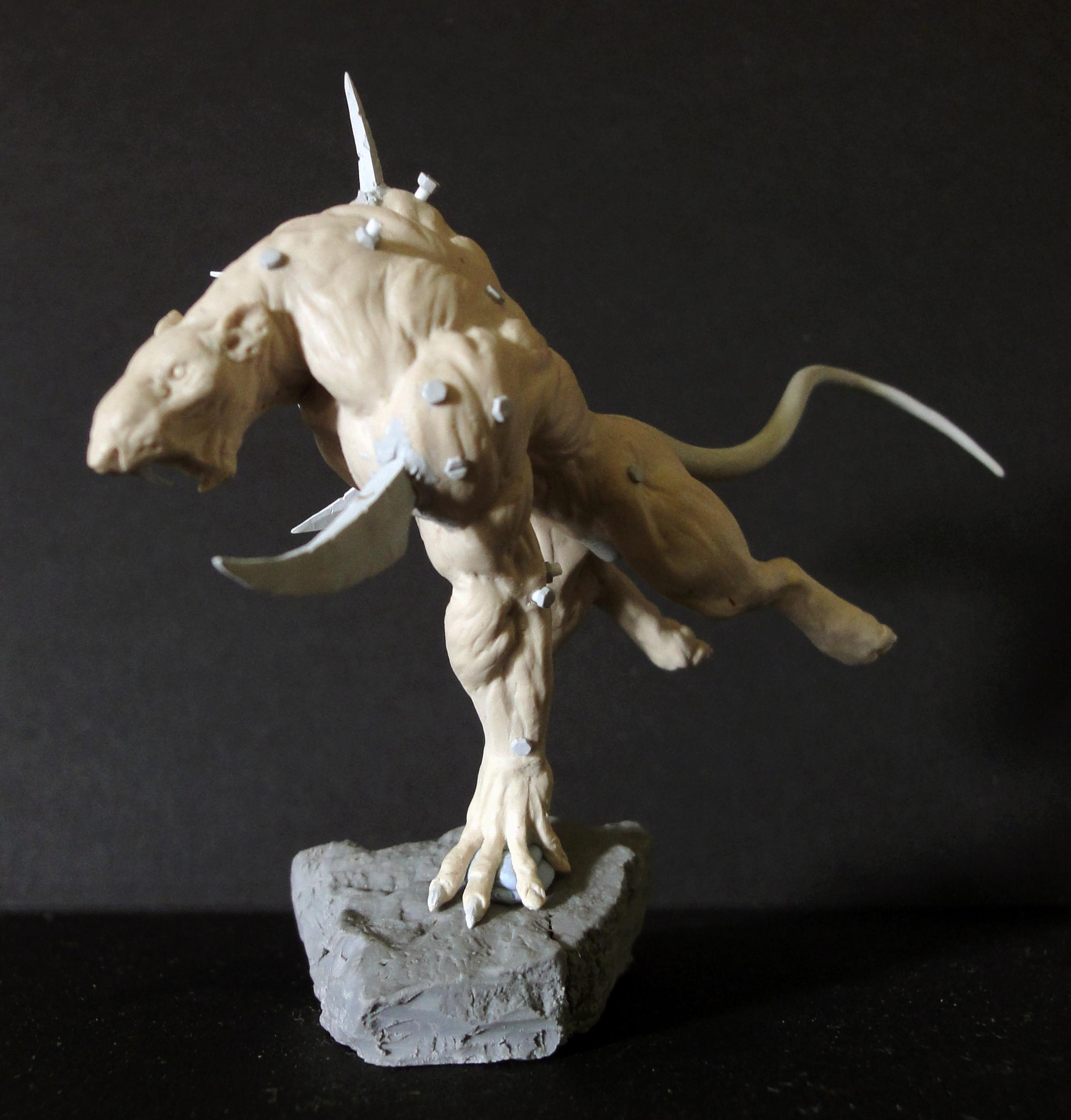 Rat Ogre, Sculpting, Work In Progress