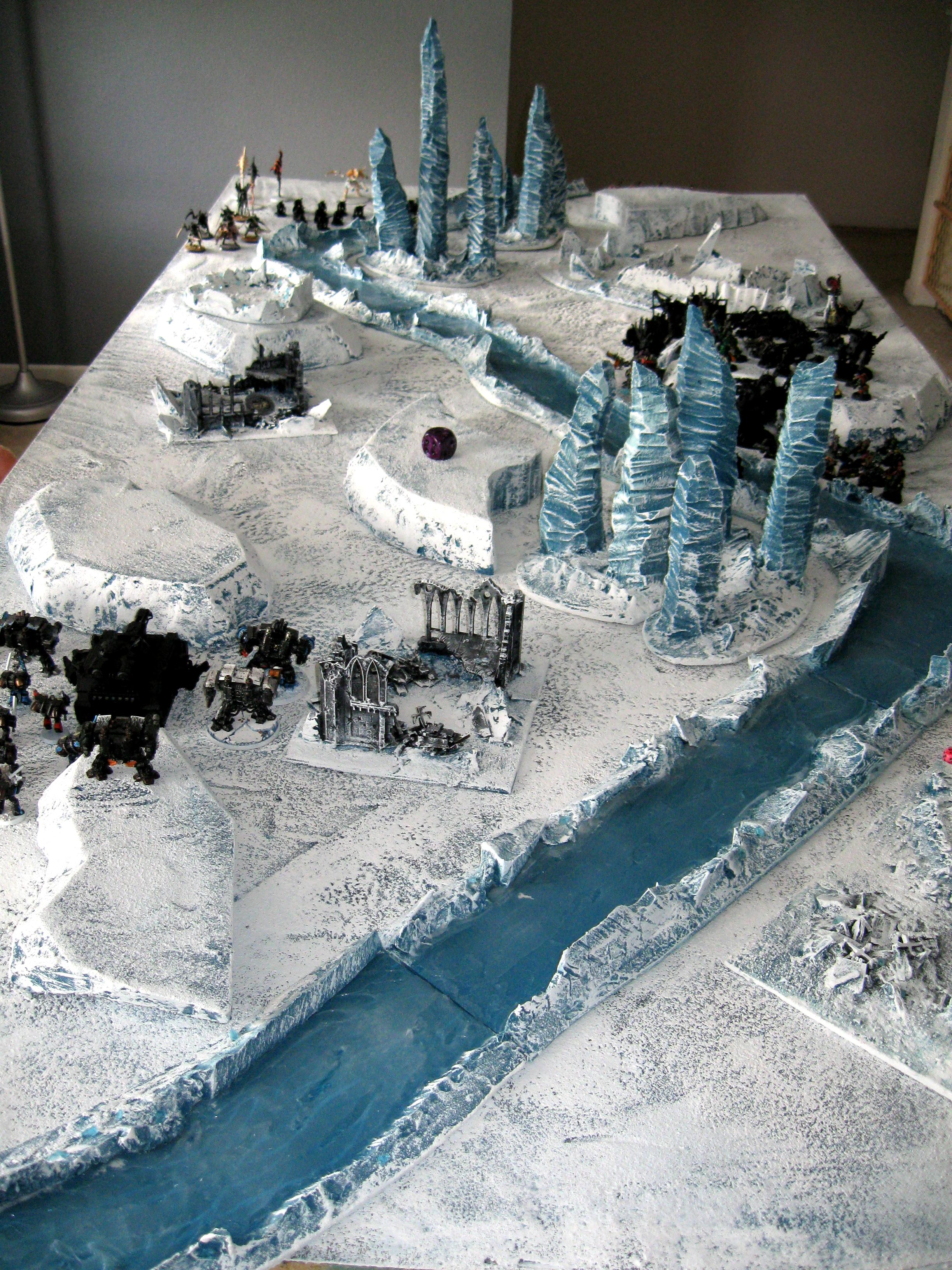 Battle, Dreadnought, Ice Angels, Ice Terrain, Ice World, Orks, River, Space Marines, Tyranids, Warhammer 40,000