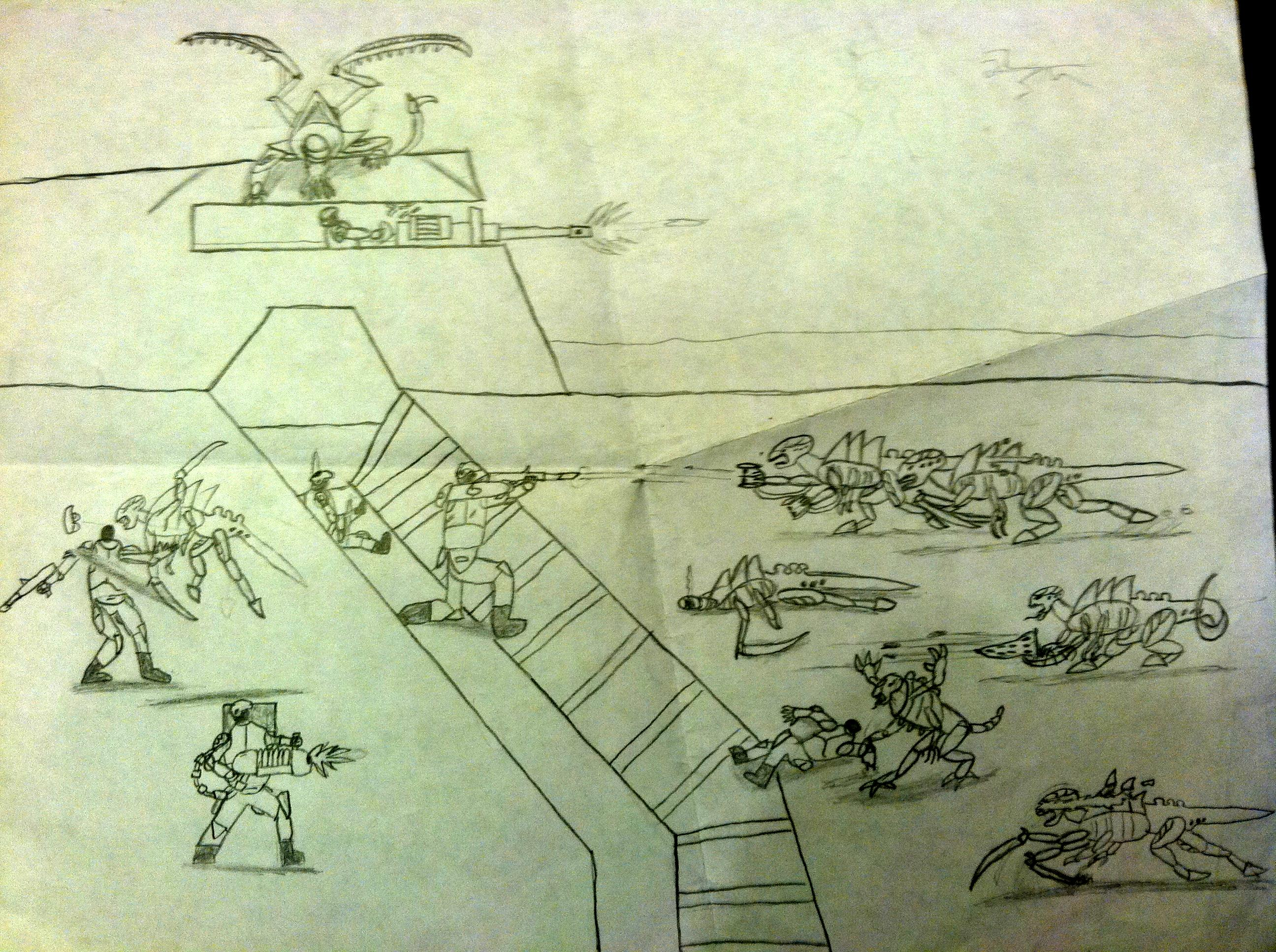 Artwork, Cadians, Imperial Guard, Tyranids