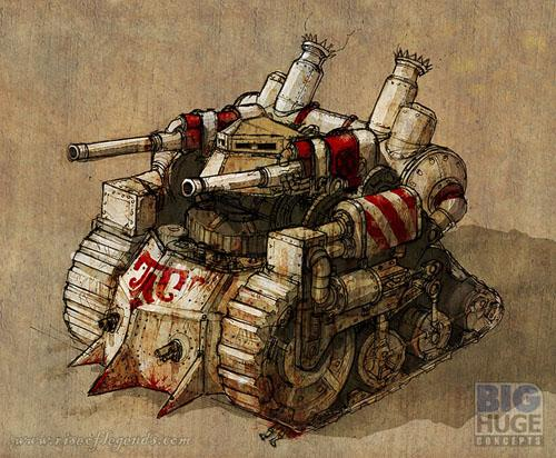 Copyright Big Huge Games, Rise Of Legends, Steampunk, Tank, Truck, Vinci