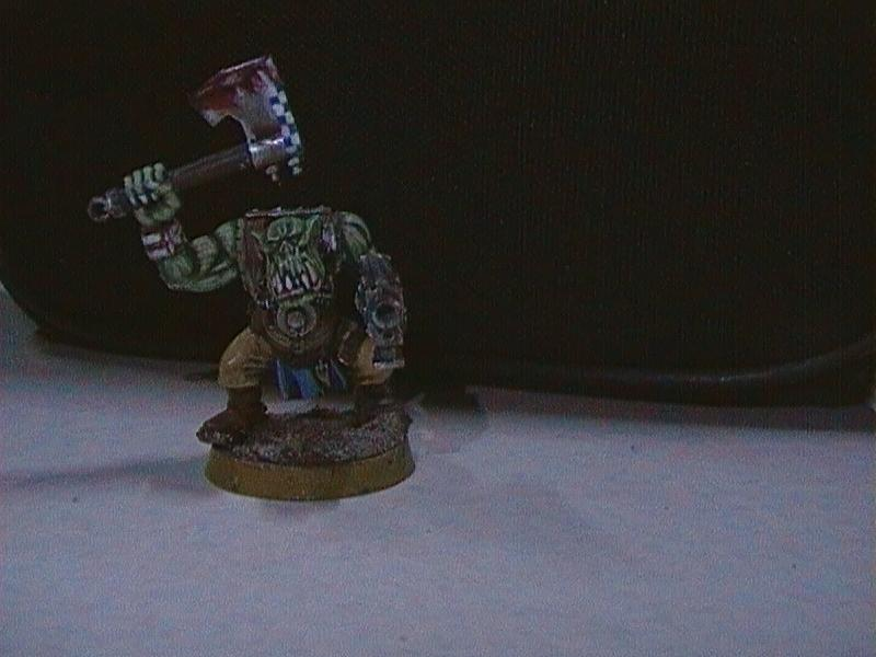 Blood, Checkers, Choppa, Complete, Freehand, Infantry, Ork Boy, Orks, Painted, Slugga, Warhammer 40,000
