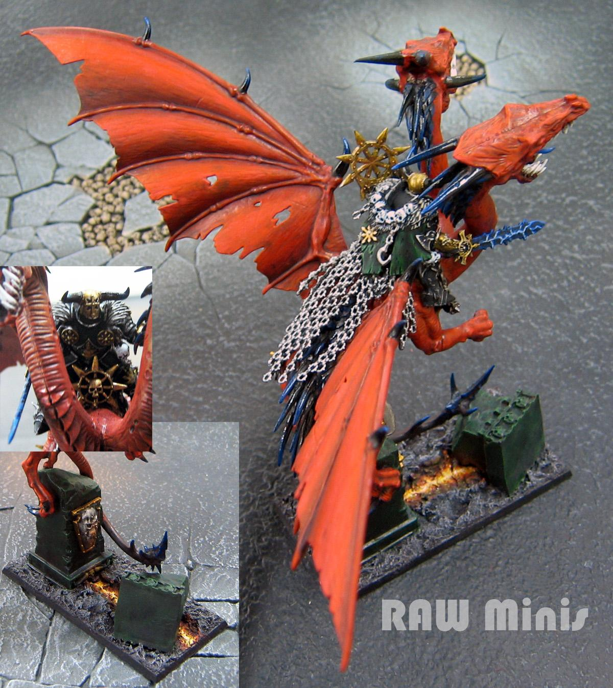 Chaos, Chaos Lord, Conversion, Dragon, Greenstuff, Monster, Painting, Warhammer Fantasy, Warriors Of Chaos