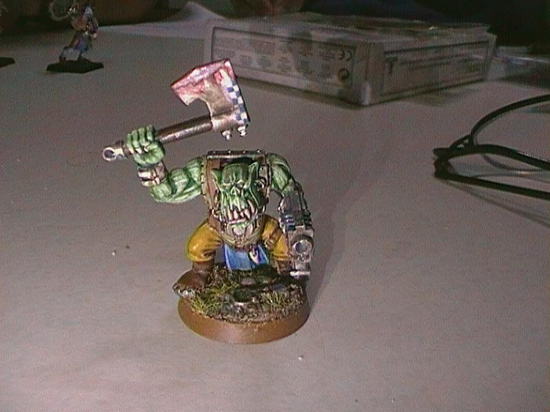 Blood, Checkers, Freehand, Ork Boy, Orks, Painted