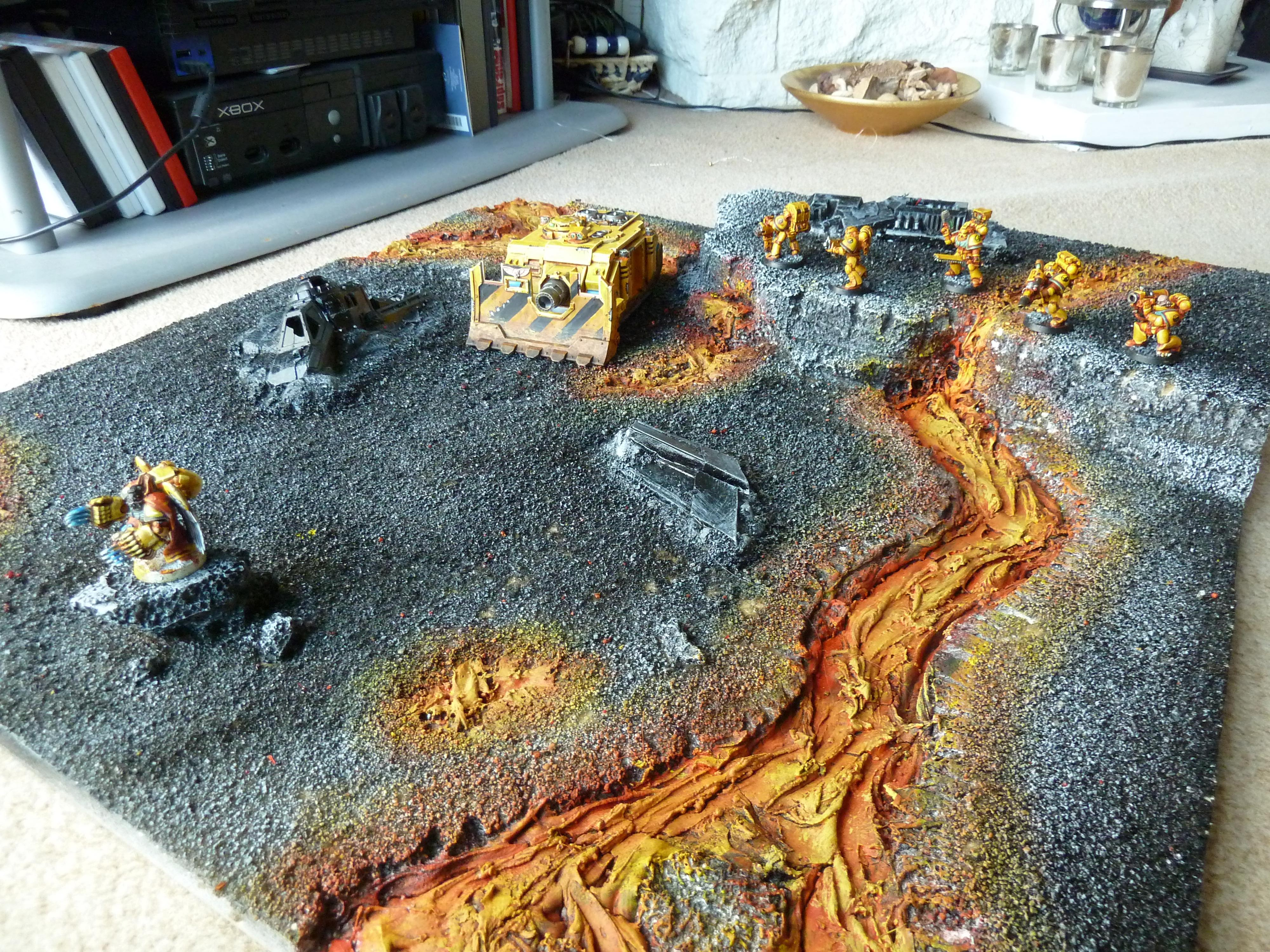 Armies On Parade, Imperial Fists, Kitbash, Lava, Object Source Lighting, Space Marines, Yellow