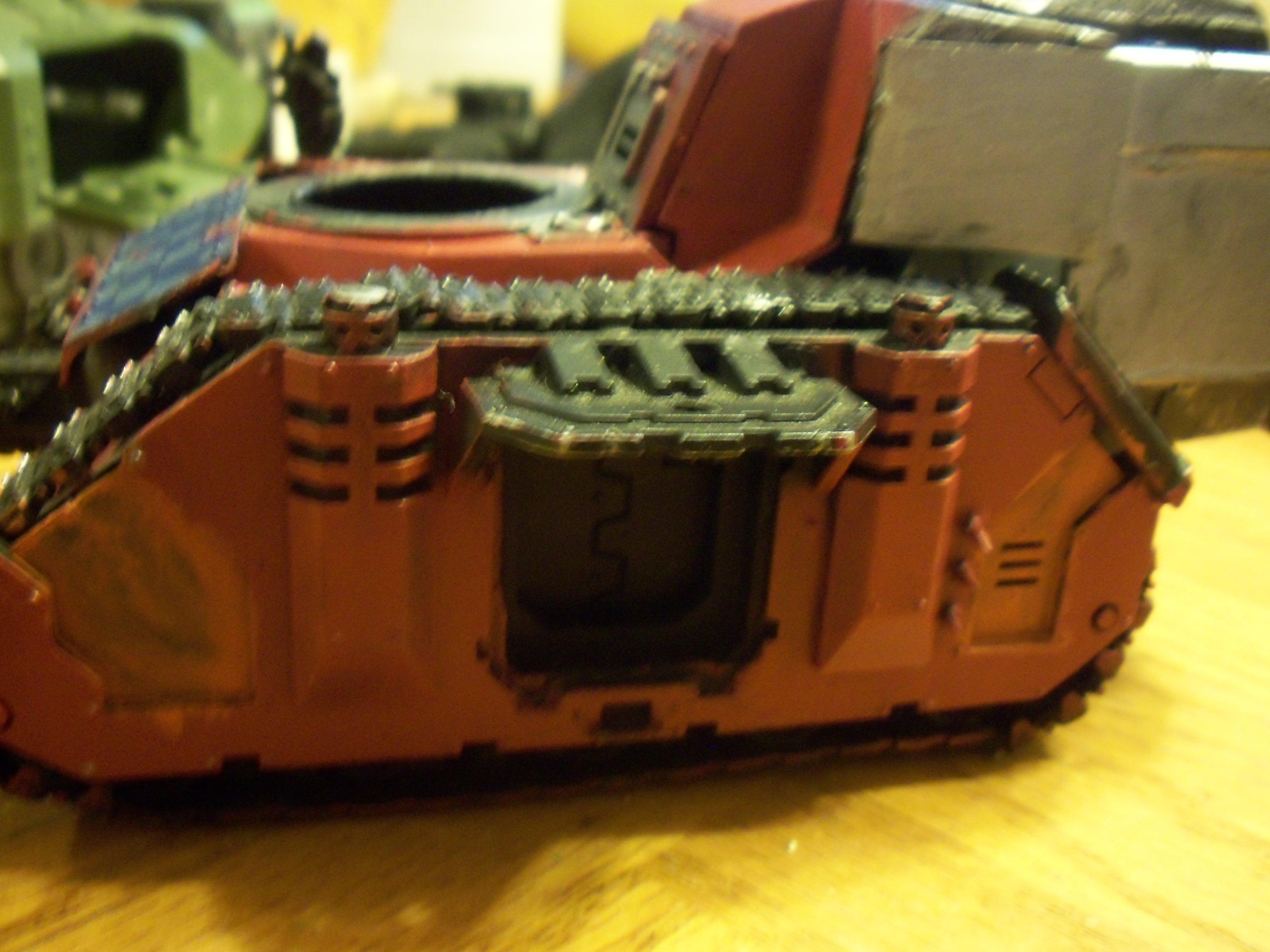 Conversion, Orks, side of partially painted battle wagon conversion