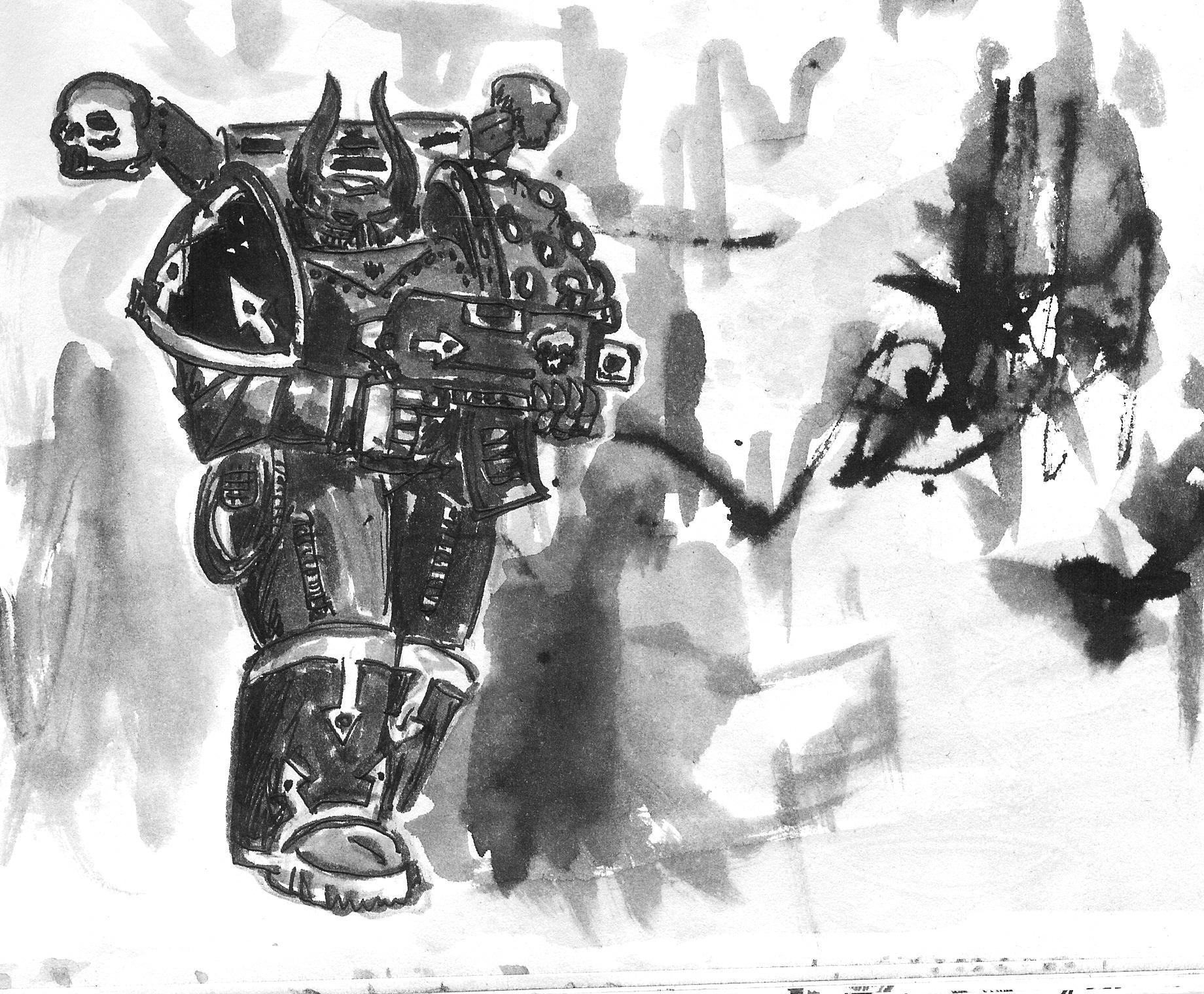Artwork, Chaos, Chaos Space Marines, Drawing, Old, School, Style, Warhammer 40,000, Weapon