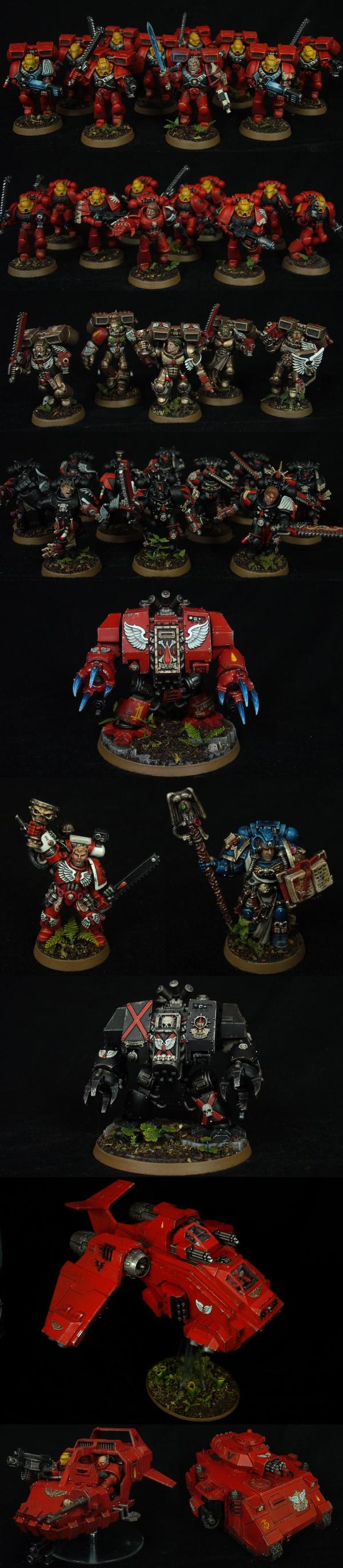 Army, Blood Angels, Dreadnought, Librarian, Space Marines, Storm Raven