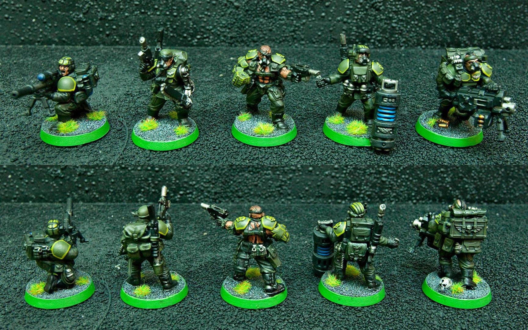 Bionics, Demolition Charge, Demolitions, Flamer, Guard, Guardsmen, Imperial Guard, Imperial Guard Veteran Squad, Meltabomb, Meltagun, Power Fist, Sgt, Sniper Rifle, Targeter, Veteran