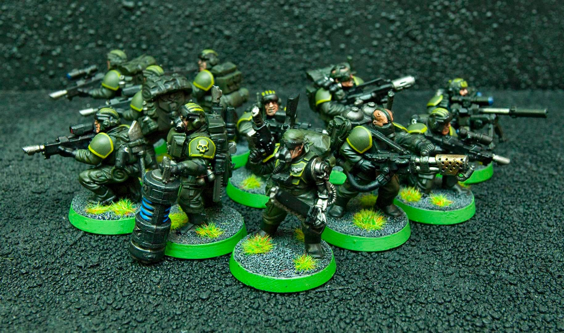 Astra Militarum, Bionics, Demolition Charge, Demolitions, Flamer, Guard, Guardsmen, Imperial Guard, Imperial Guard Veteran Squad, Meltagun, Sgt, Sniper Rifle, Targeter, Veteran