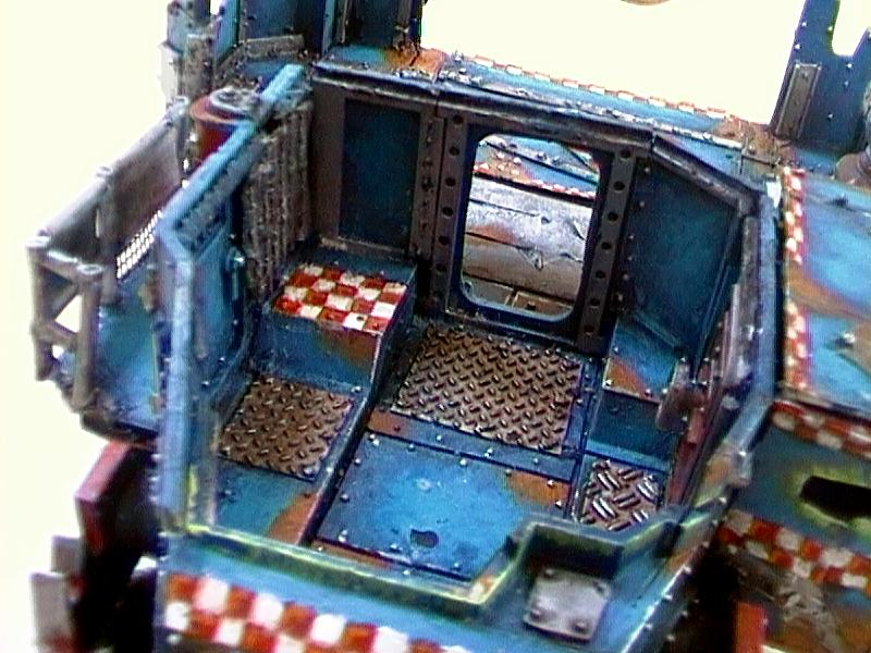 Battlewagon, Blue, Checkers, Conversion, Freehand, Gunner, Gw Cairns, Object Source Lighting, Orks, Plasticard, Warhammer 40,000, Wheel