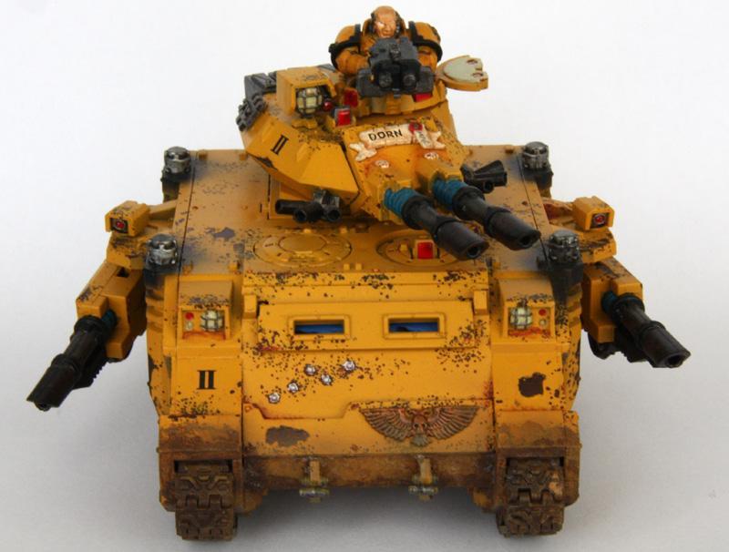 Annihilator, Damage, Dirt, Imperial Fists, Lascannon, Predator, Search Light, Smoke Launcher, Sponson, Storm Bolter, Tank, Turret, Twin Linked, Vehicle, Yellow