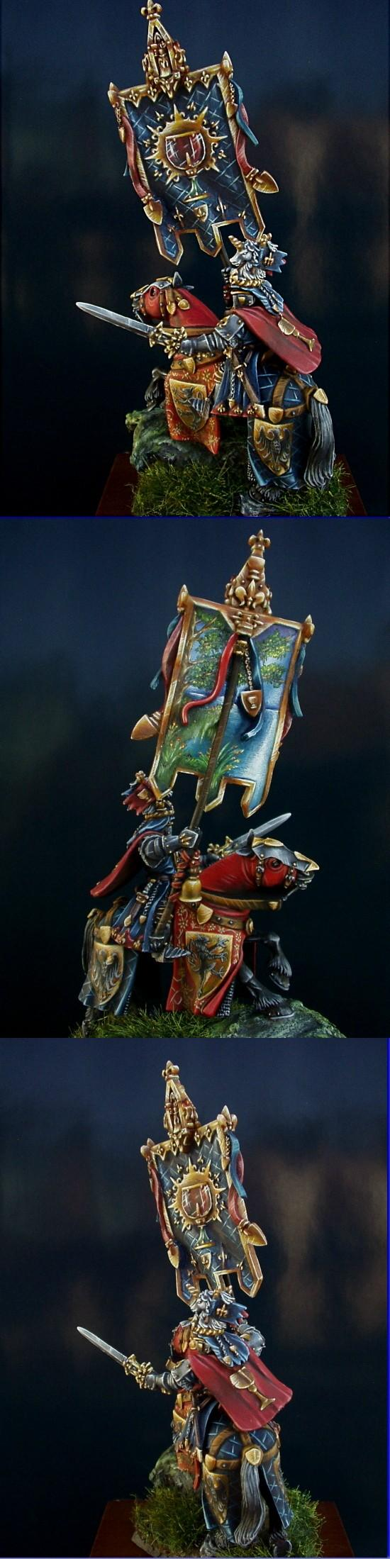 Banner, Brettonnian, Brettonnian Knight, Grail Knight, Horse, Knights
