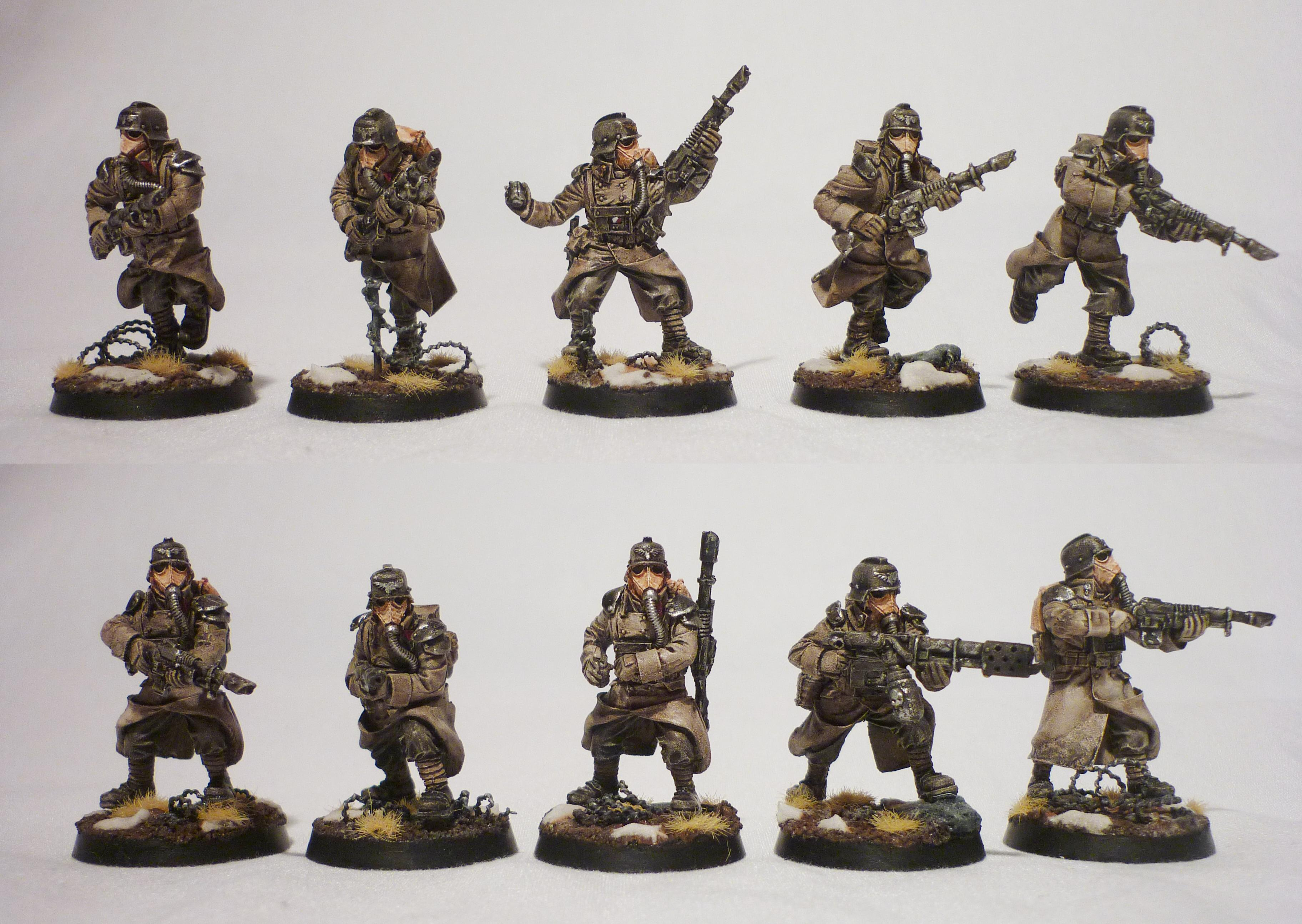 Death Korps of Krieg, Grenadier, Grim Dark. Guardsmen, Imperial Guard, Lasmen, Mud, Platoon, Razorewire, Snow, Squad, Veteran