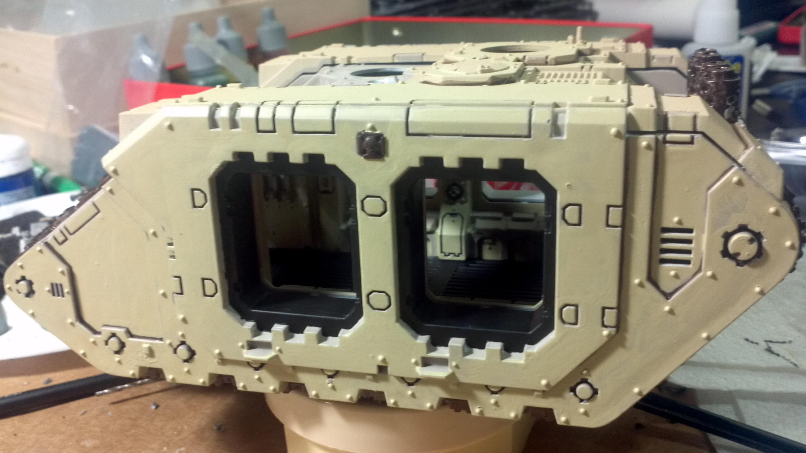 Half of the land raider is done with the background color