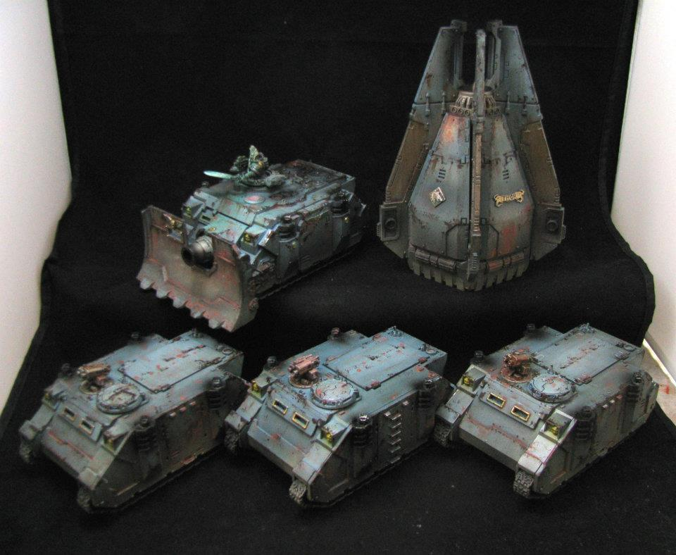 Drop Pod, Rhino, Space Marines, Space Wolves, Space Wolves Vehicles, Vindicator, Weathered