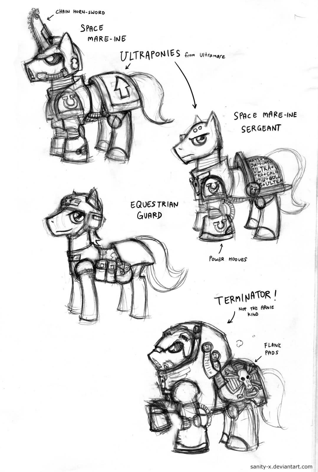Concept, Imperial Guard, Mlp, My Little Pony, Sketch, Space Marines, Stupid, Ultramarines, Warhammer 40,000