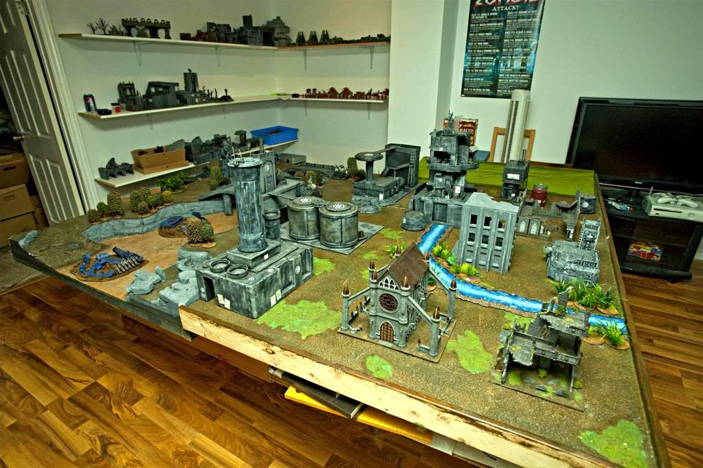 5th Ed, 8x6, Apocalypse, Army, Big 40k, Church, Forests, Game Table, Line Of Sight Blocking Terrain, Los Blockers, Los Blocking Terrain, Manufactorum, Rivers, Terrain, Trees, Warhammer 40,000