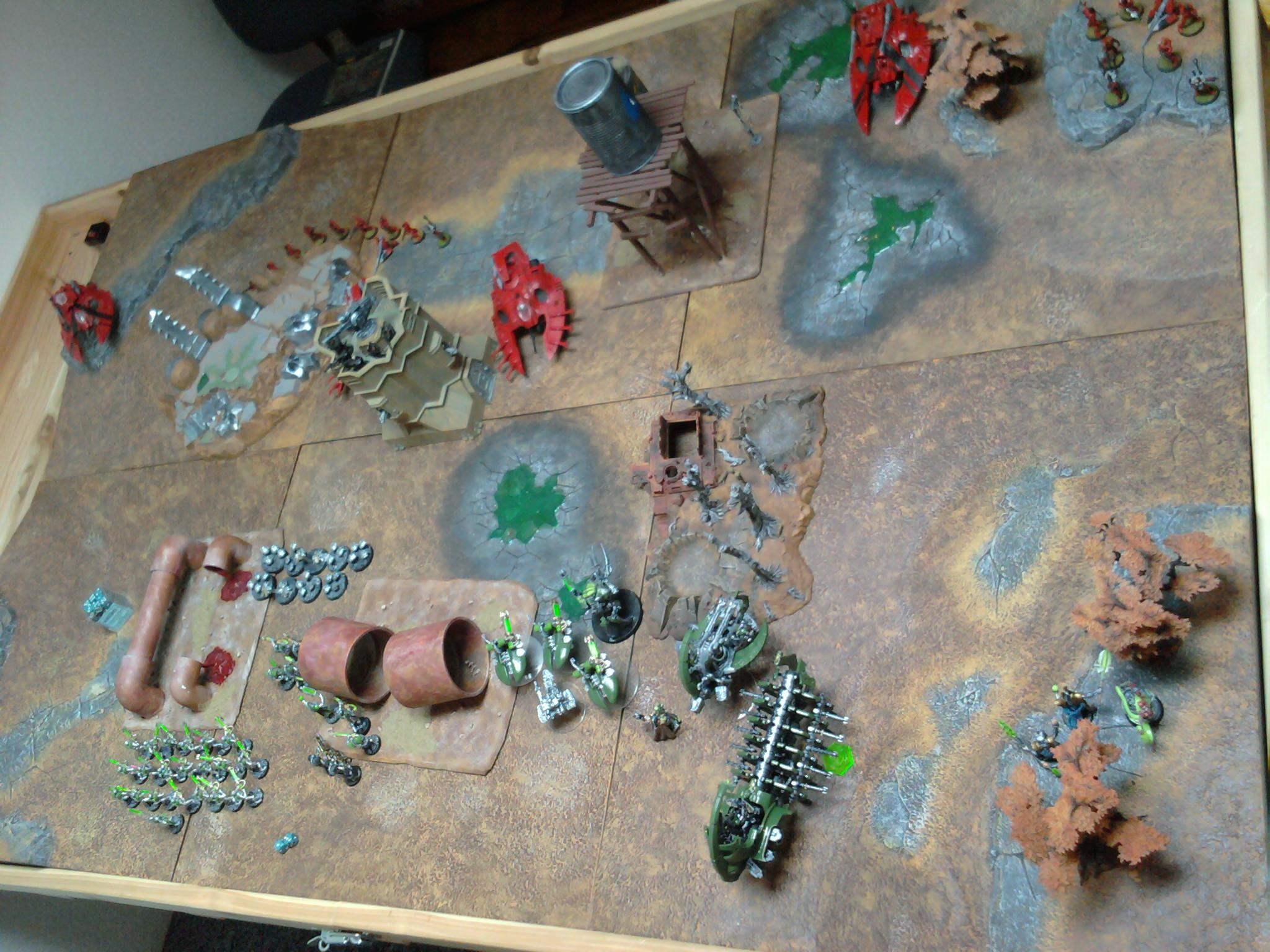 Bat Rep, Battle Report, Eldar, Game Table, Necrons, Terrain