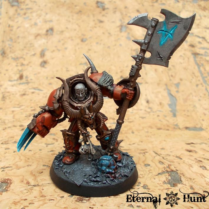 Axe, Chaos, Chaos Lord, Chaos Space Marines, Huntmaster, Khorne, Khorne's Eternal Hunt, Terminator Armor, Warhammer 40,000, World Eaters
