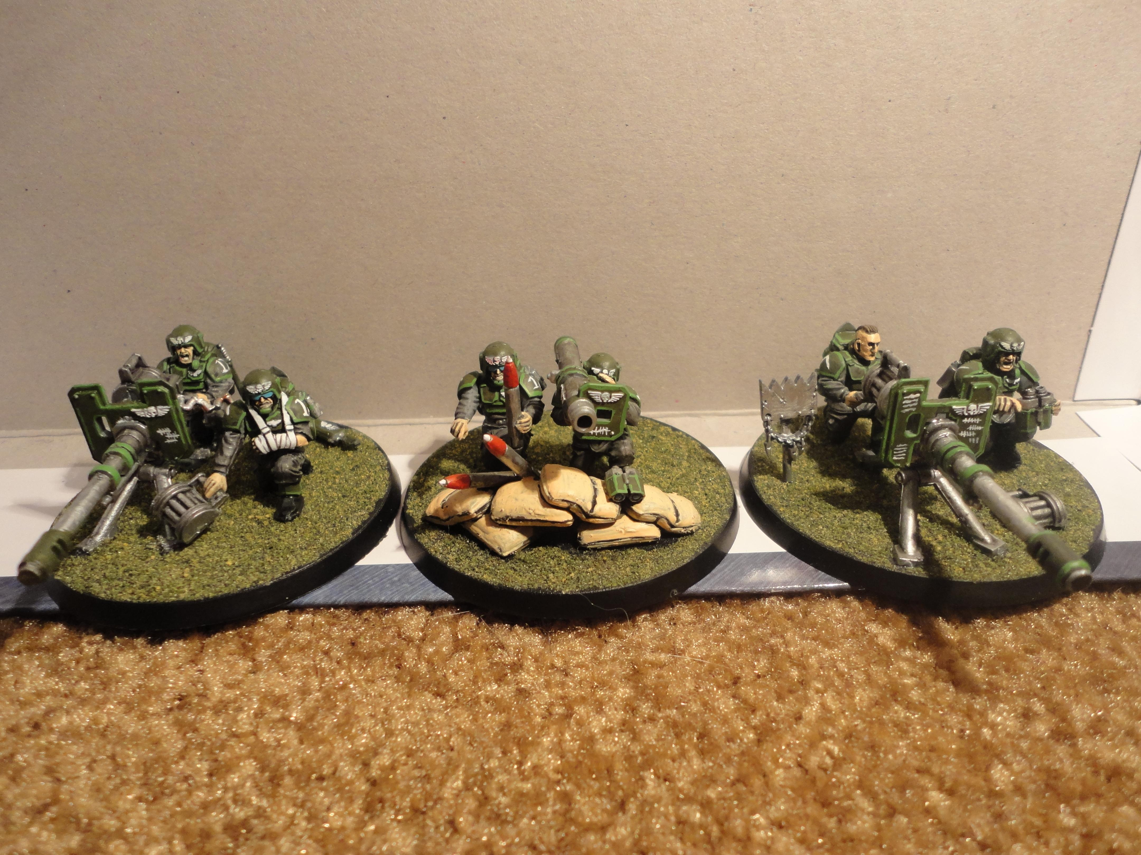 Autocannon, Grass Base, Heavy Weapons Team, Imperial Guard, Lascannon And Rocket Launcher, Warhammer 40,000