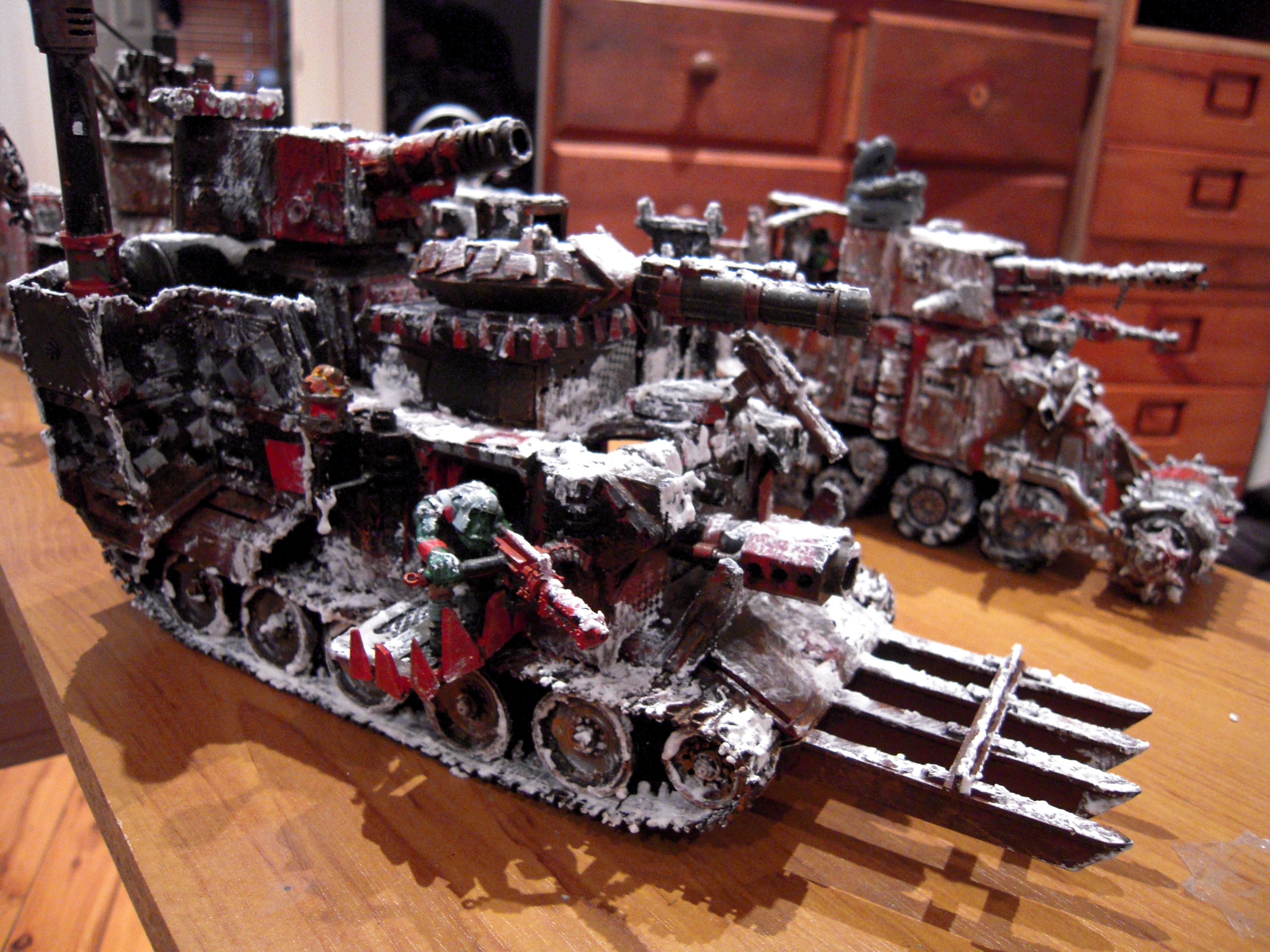 Battlewagon, Frost, Heavy, Looted Wagon, Orks, Rust, Snow, Support, Tank, Warhammer 40,000, Winter