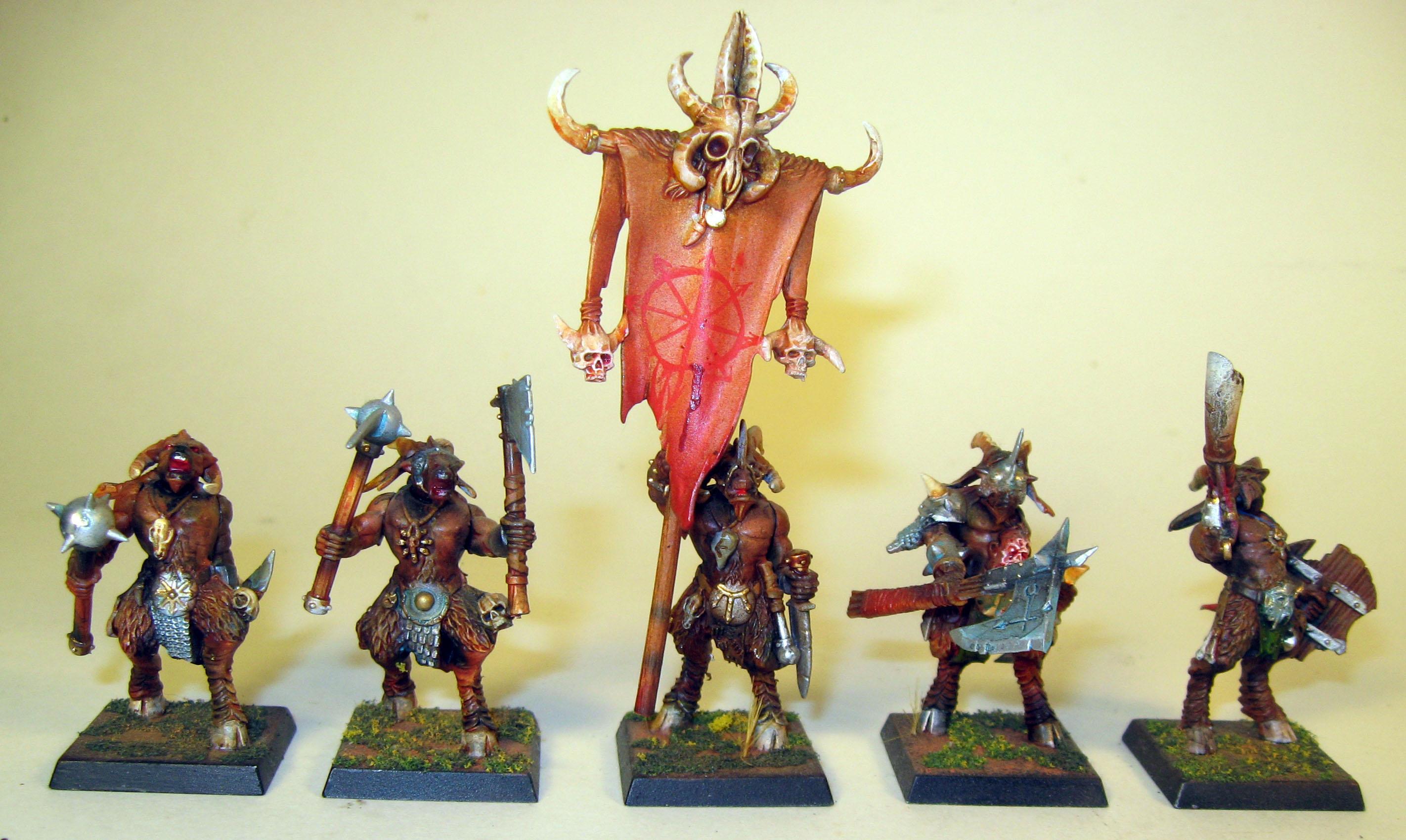 Airbrushed, Beastmen, Chaos, Flocking, Gor Herd, Warhamer Fantasy