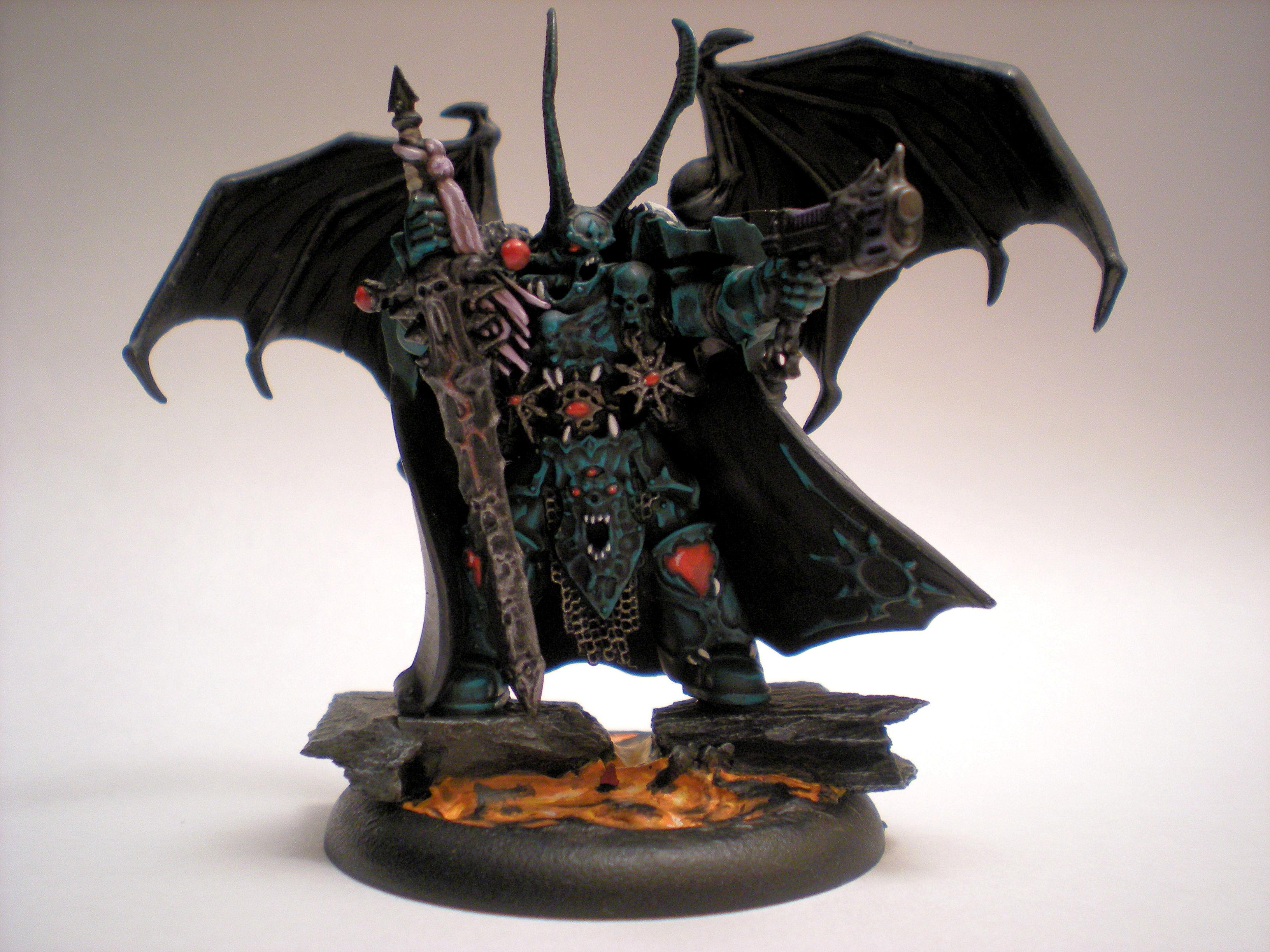 Base, Chaos, Flying, Green, Lava, Lord, Slaanesh, Sword, Turquoise, Warhammer 40,000, Winged
