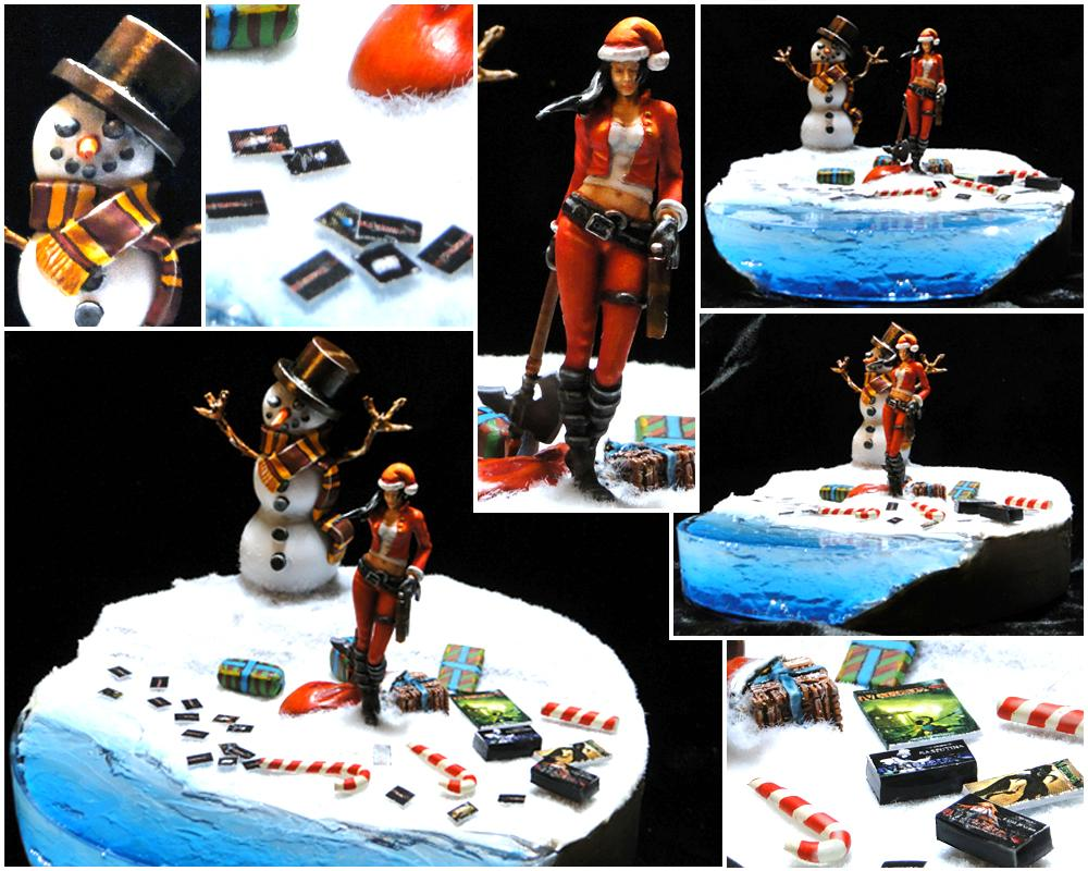 Christmas, Dakka Painting Challenge, Diorama, Female, Malifaux, Merry Malifaux Festivities, Santa Claus, Snowman