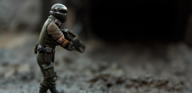 Bunker, Conversion, Dirty, Grime, Mine, Mud, Rain, Rusty Robot, Sentinel, Space Marines, Wet
