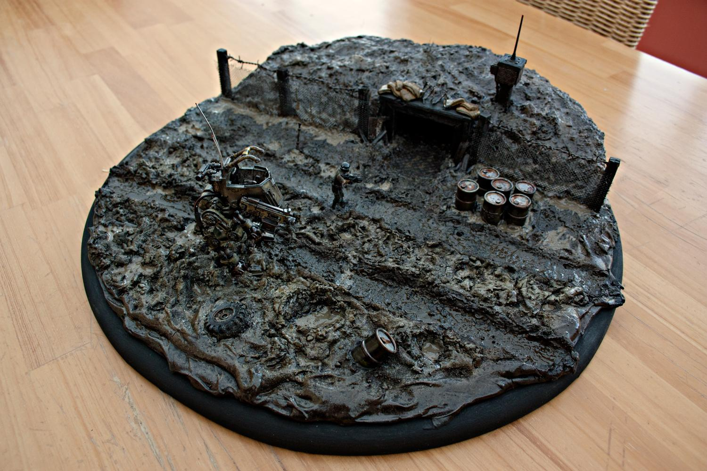 Bunker, Conversion, Diorama, Dirty, Grime, Mine, Mud, Rain, Rusty Robot, Sentinel, Wet