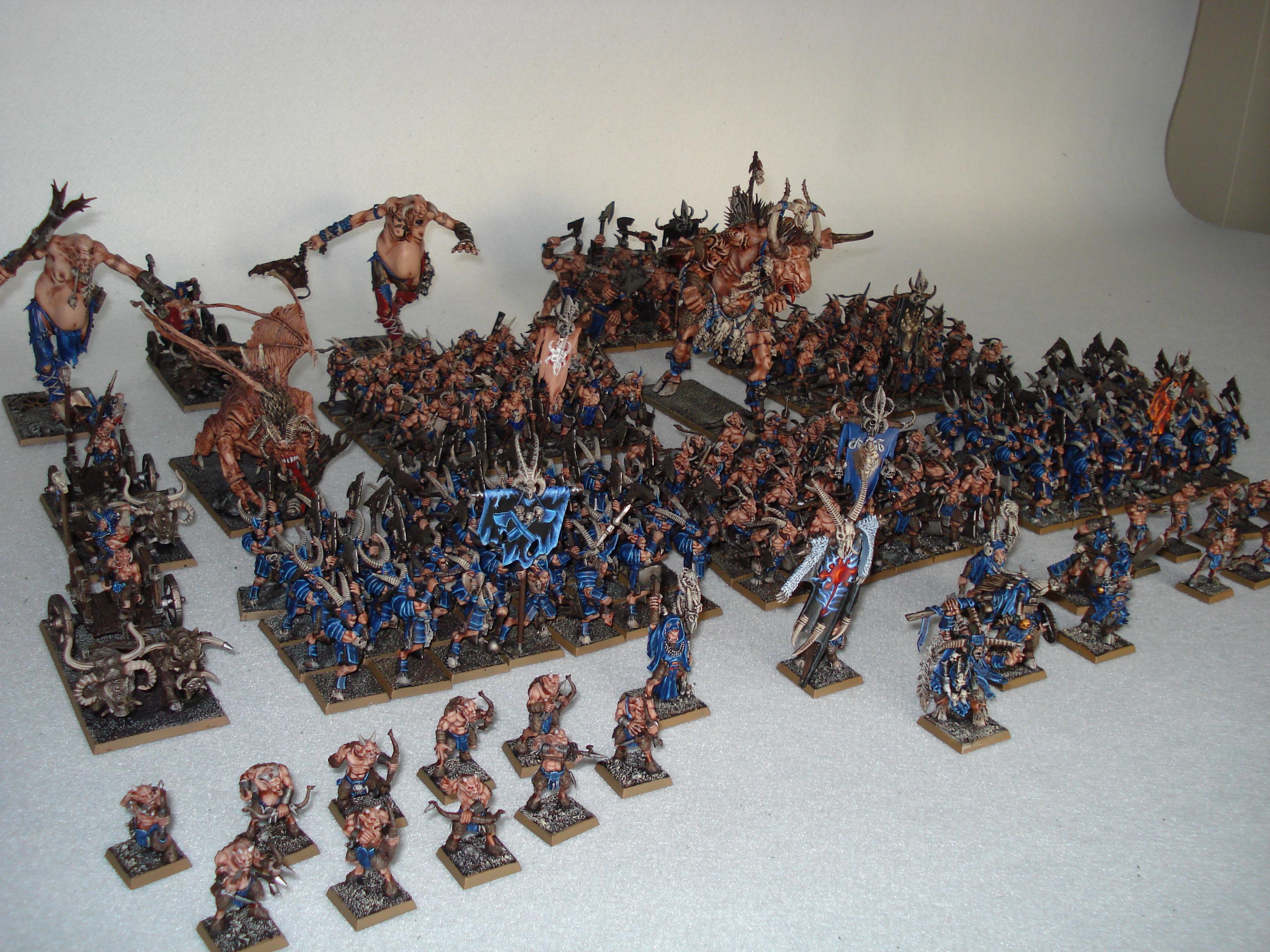 Army, Beastmen, Bestigors, Chariot, Complete, Ghorgon, Giant, Gors, Jabberslythe, Malagor, Raiders, Shaman, Standard Bearer, Tuskgor