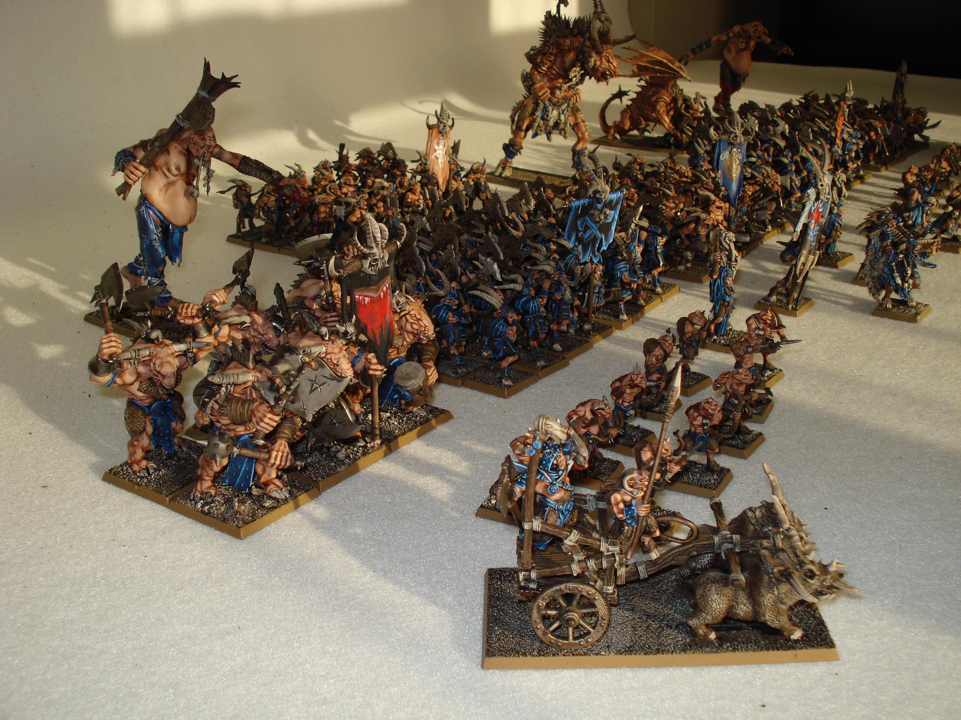 Army, Beastmen, Chariot, Finished, Giant, Shaman, Standard Bearer, Tuskgor, Ungors