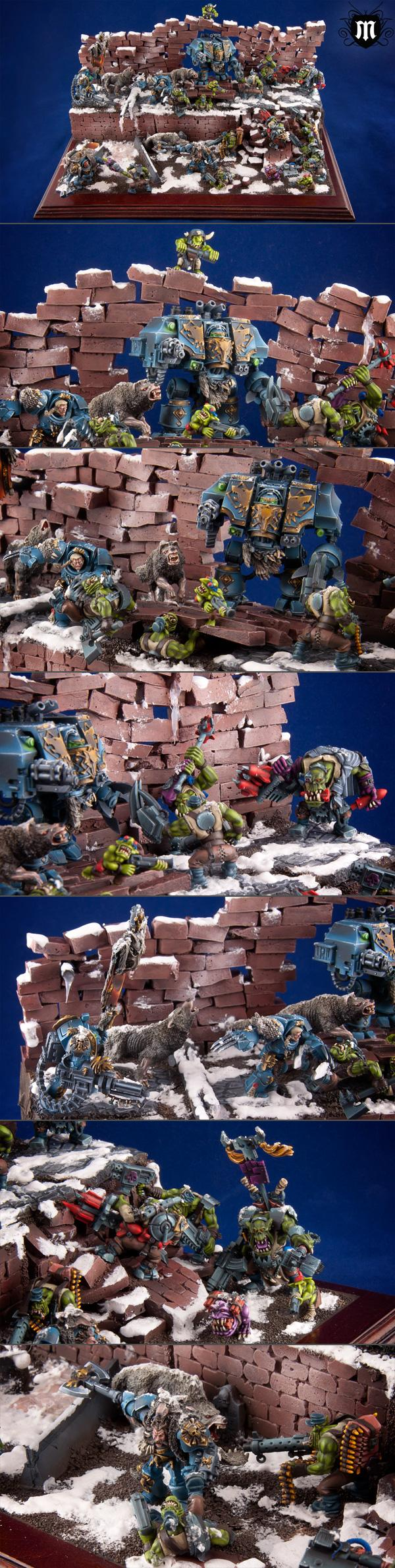Assault Cannon, Diorama, Dreadnought, Gretchin, Grots, Orks, Snow, Space Marines, Space Wolves, Warhammer 40,000