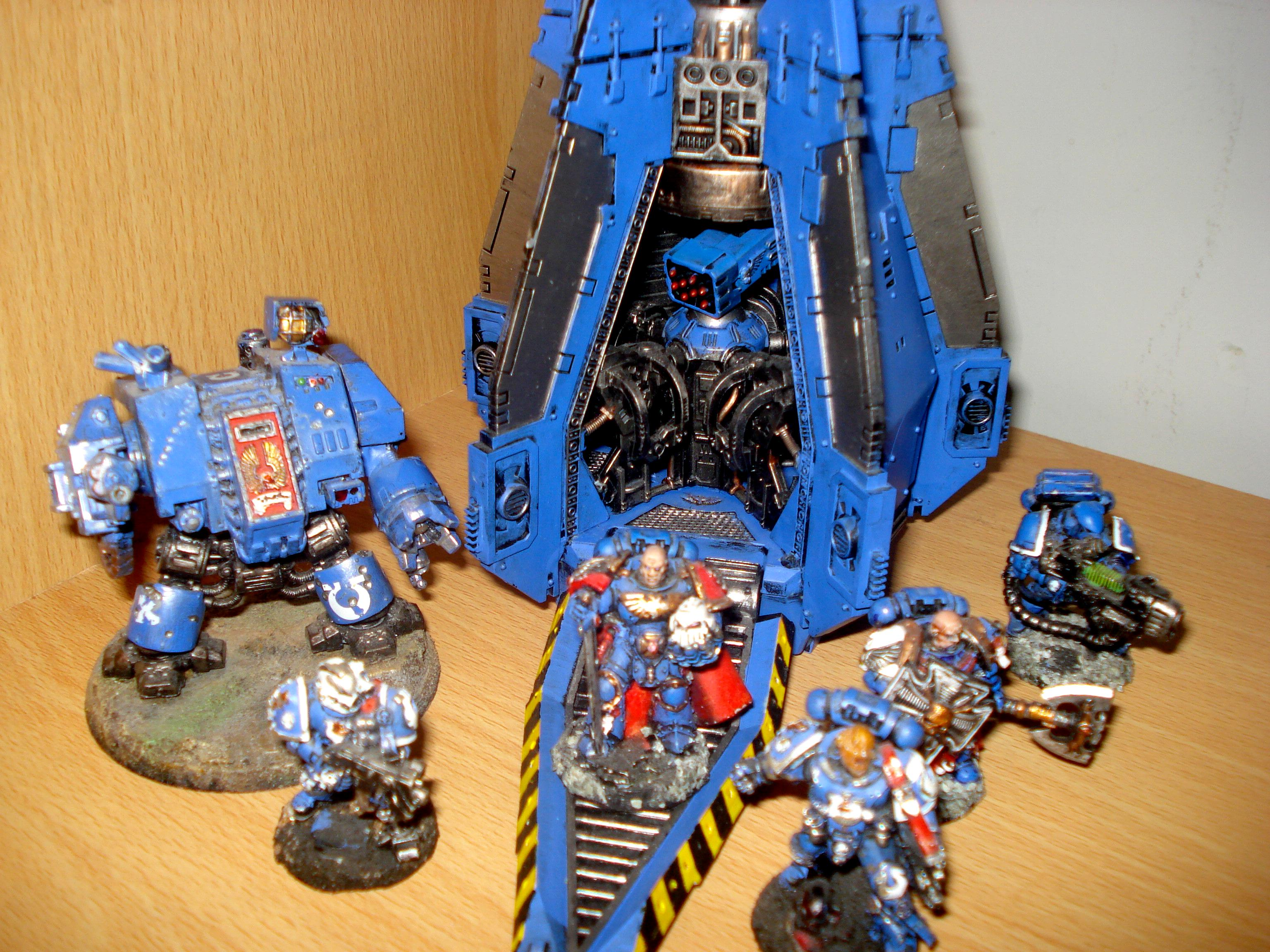 Space Marines Ultramarines Dreadnought Drop Pod Tyrannic War Veterans Chapter Masters Plasma Cannon