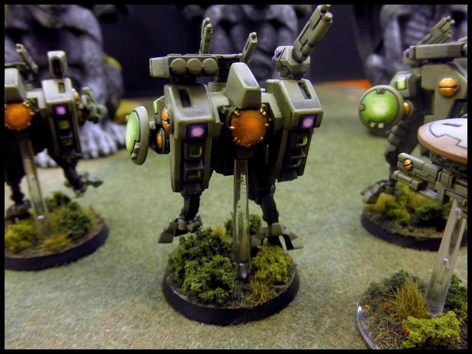 Crisis Battlesuit, Drone, Fire Warriors, Green, Tau, Warhammer 40,000, Warhammer Fantasy