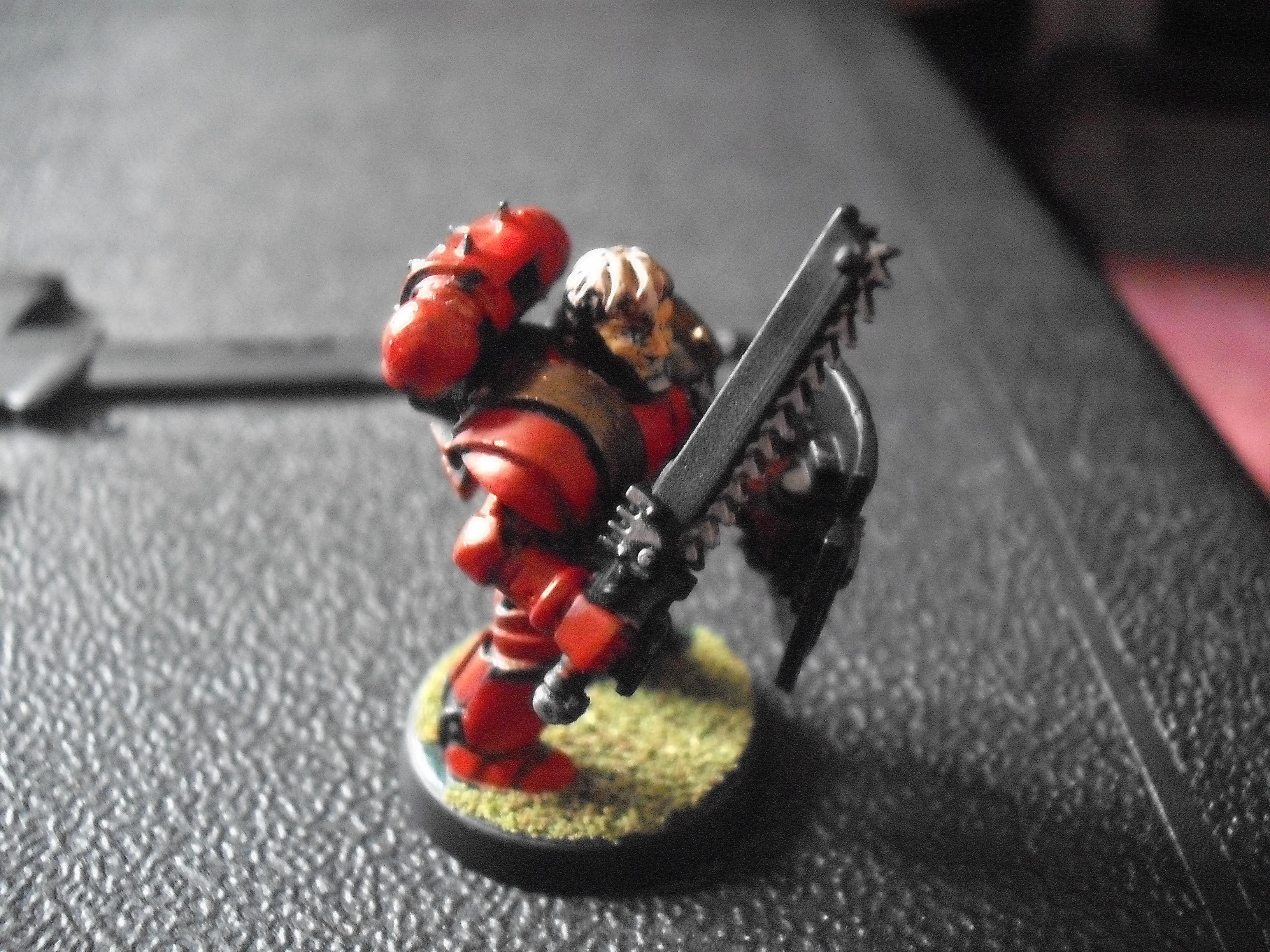Bare Head, Blood Angels, Chainsword, Honour Guard, Roman Armour, Storm Shield, Veteran