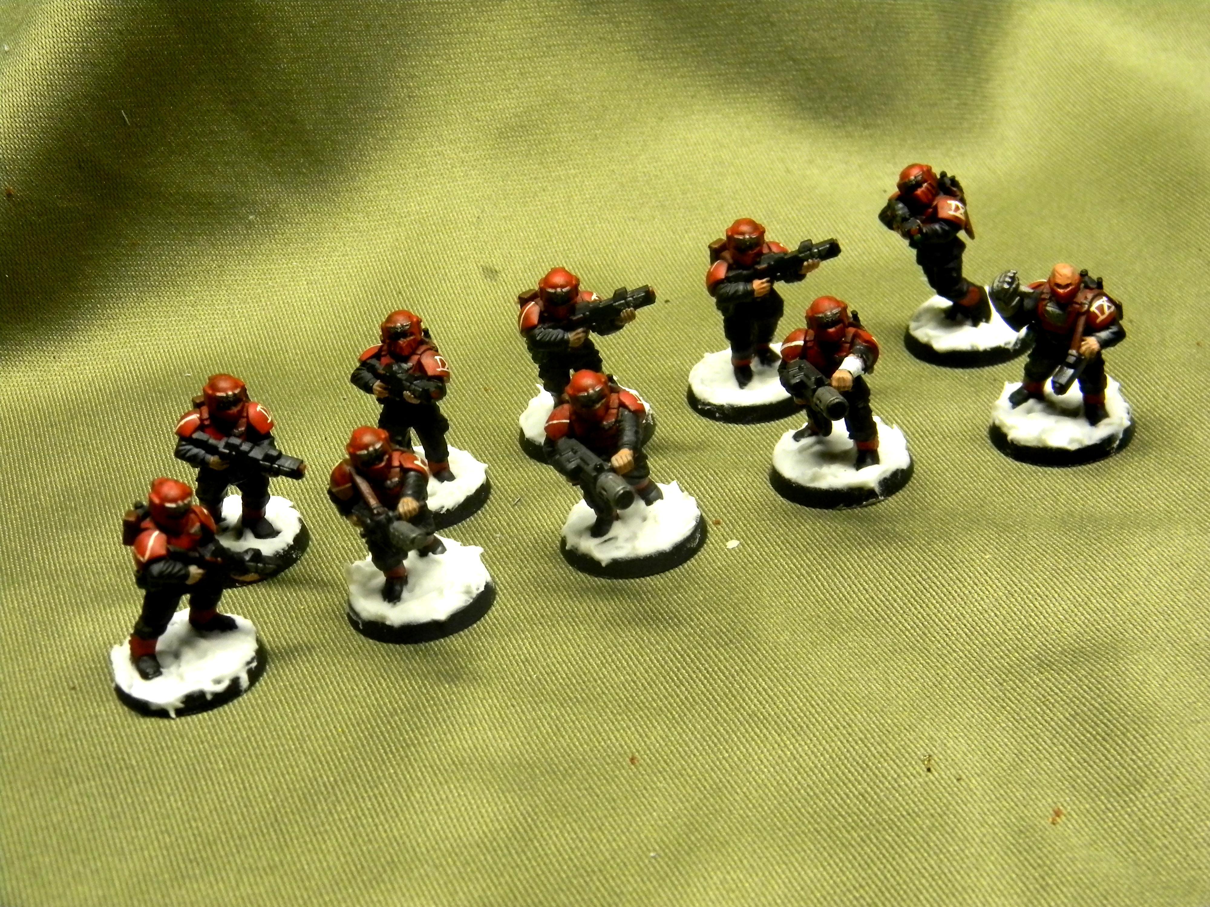 Armor, Cadians, Carapace, Guardsman 9th Cadian Legion, Imperial Guard, Meltagun, Power Fist, Snow, Veteran