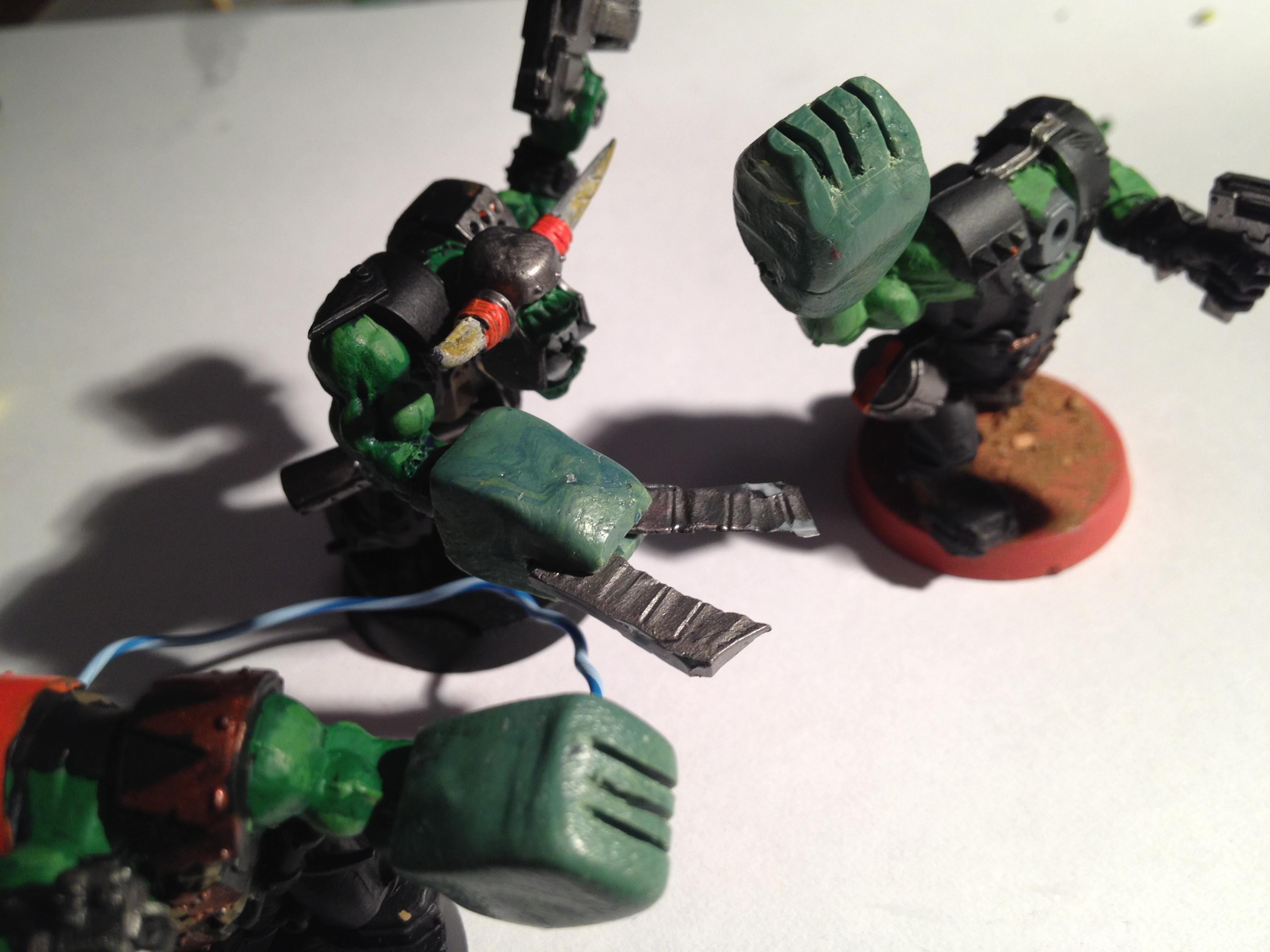 Greenstuff, Orks, Power Klaw, Work In Progress