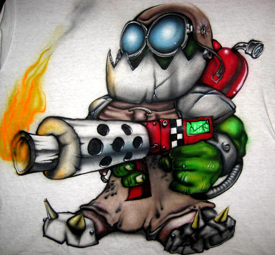 Flame Thrower, Flamer, Gob, Orks, Shirt, Warhammer 40,000