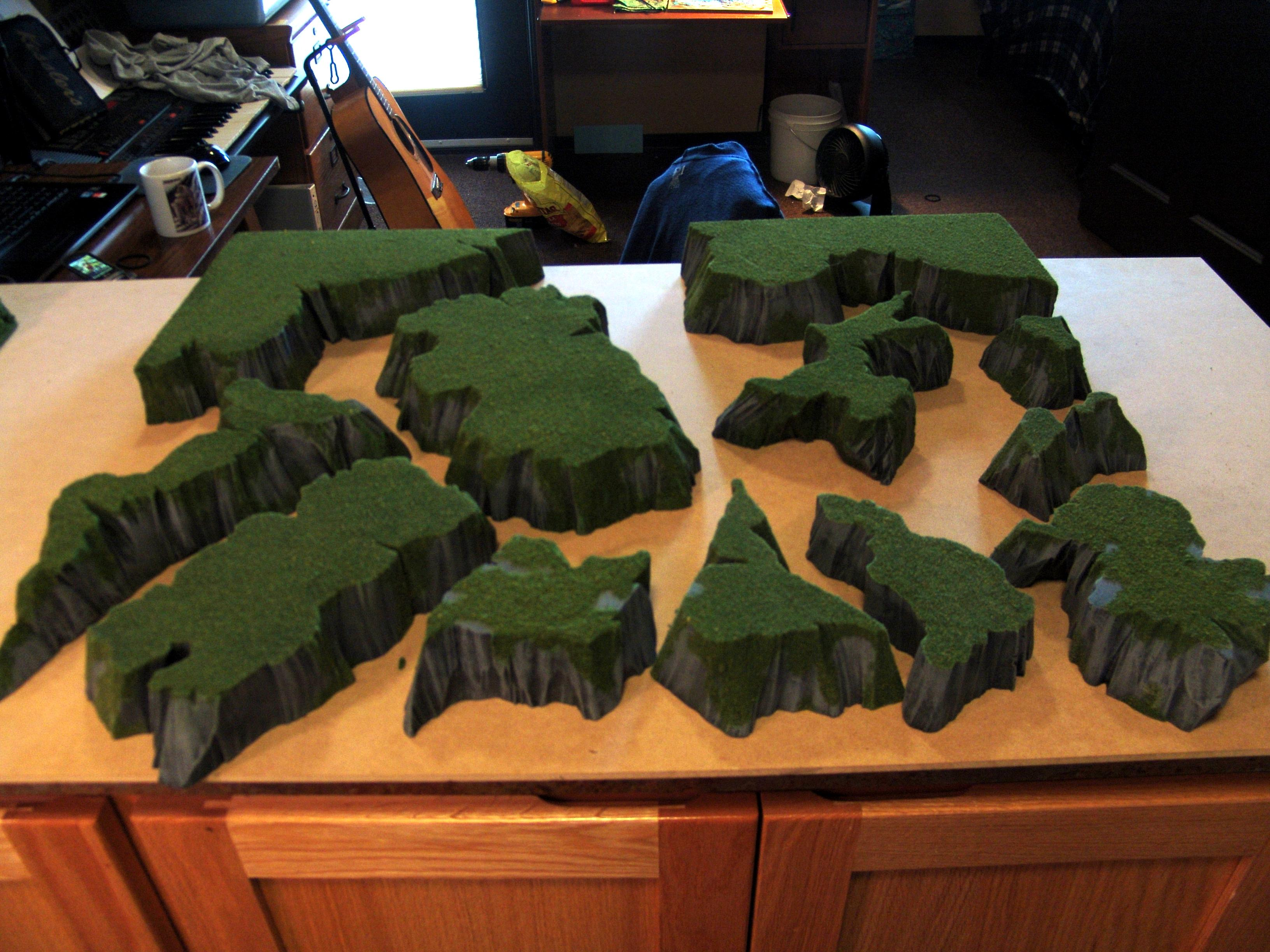 Cliffs, Custom, Drybrushing, Flock, Grass, Hills, Pink Foam, Rocky, Stratchbuilt, Terrain