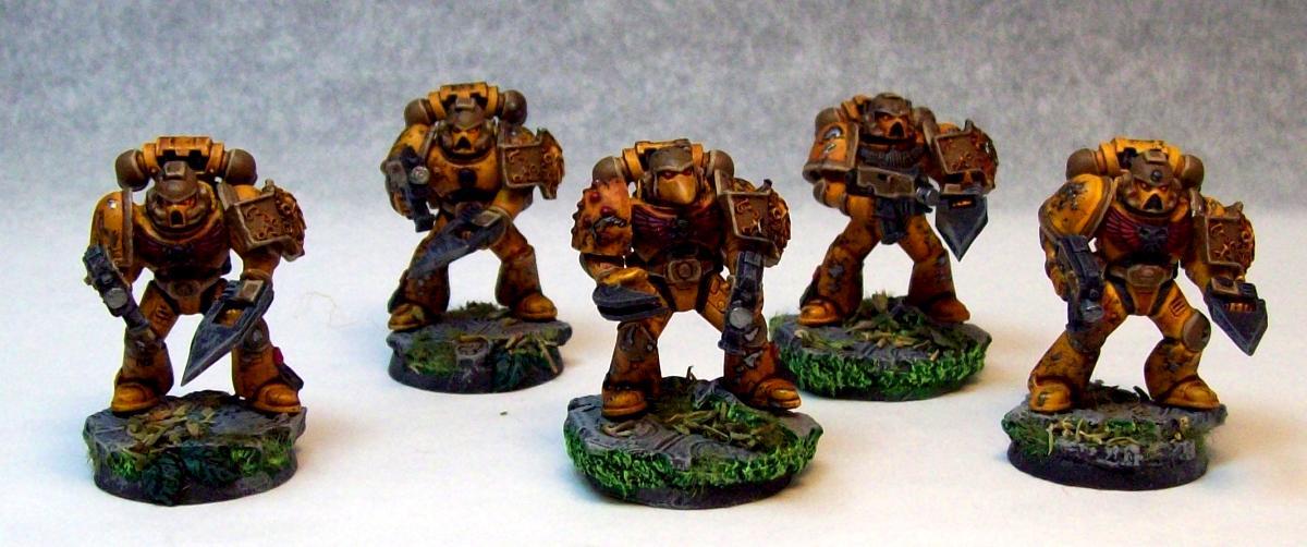 Assault Marines, Customized, Plasticard, Space Marines, Warhammer 40,000, Yellow
