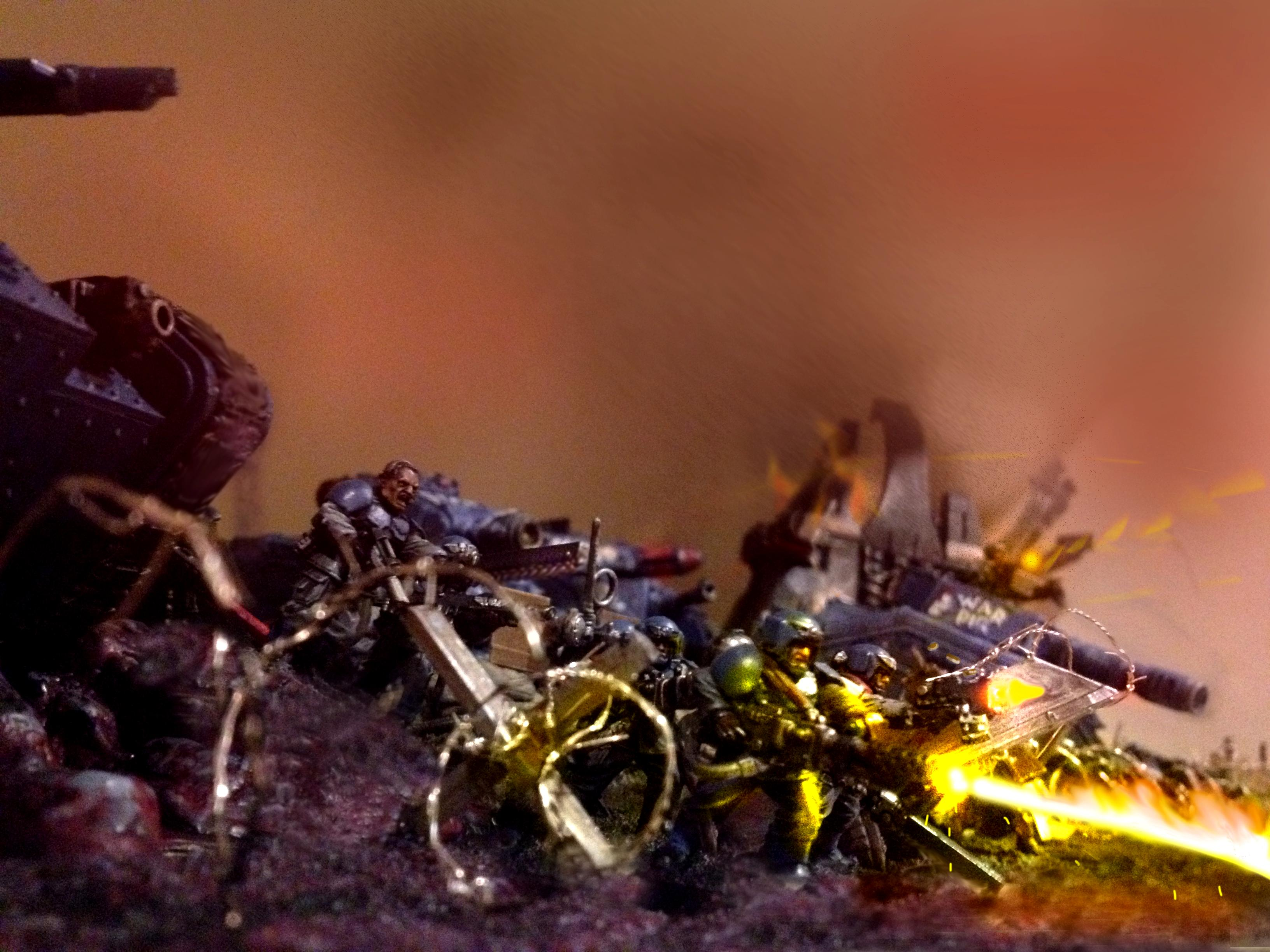 Attack, Barbed Wire, Cadians, Flamethrower, Guard, Imperial Guard, Photoshop, Tank, Trenches
