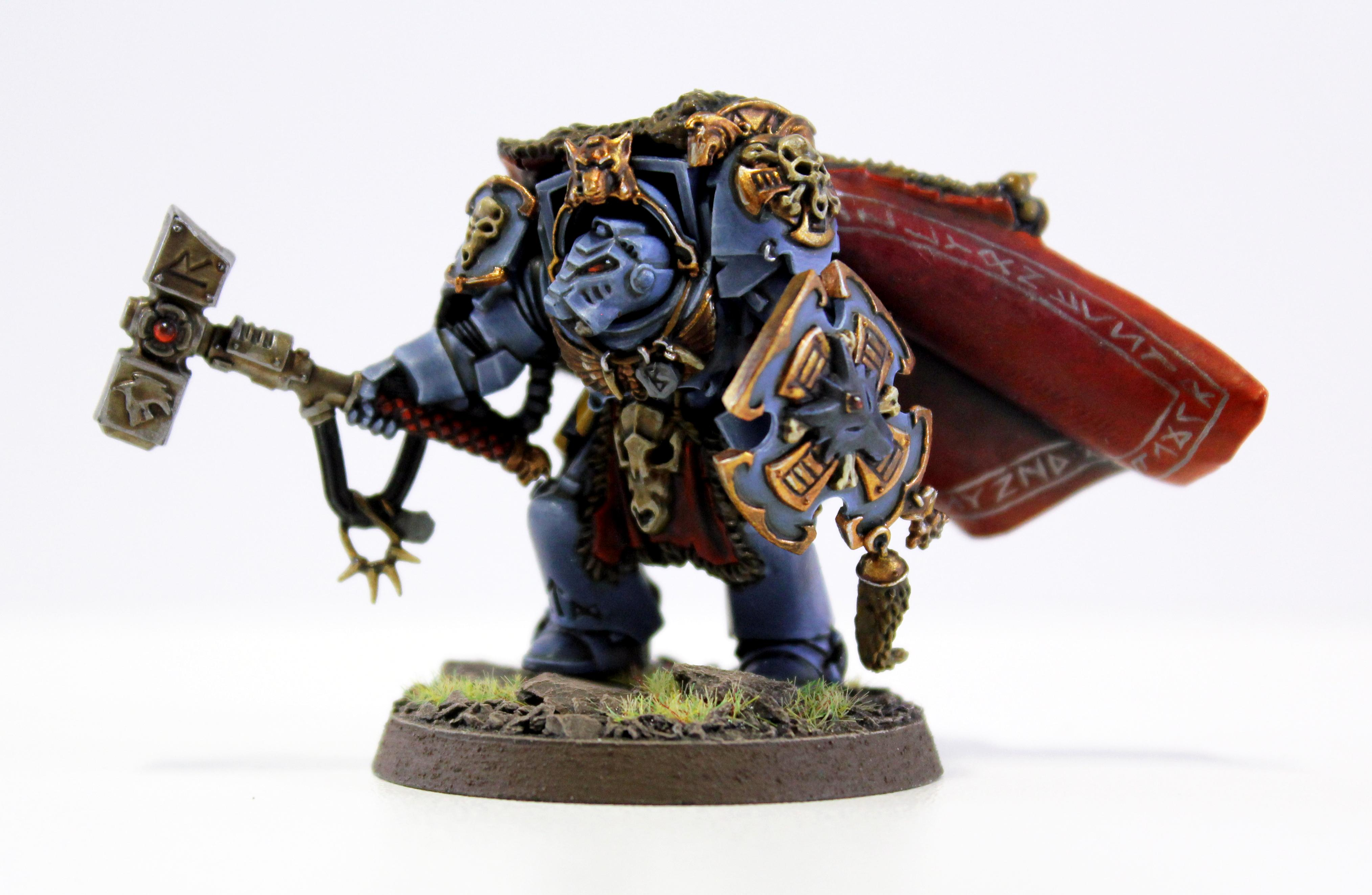 Nice Base, Pro Painted, Shield. Cape, Space Wolves, Thunder Hammer, Well Painted, Wolf Guard