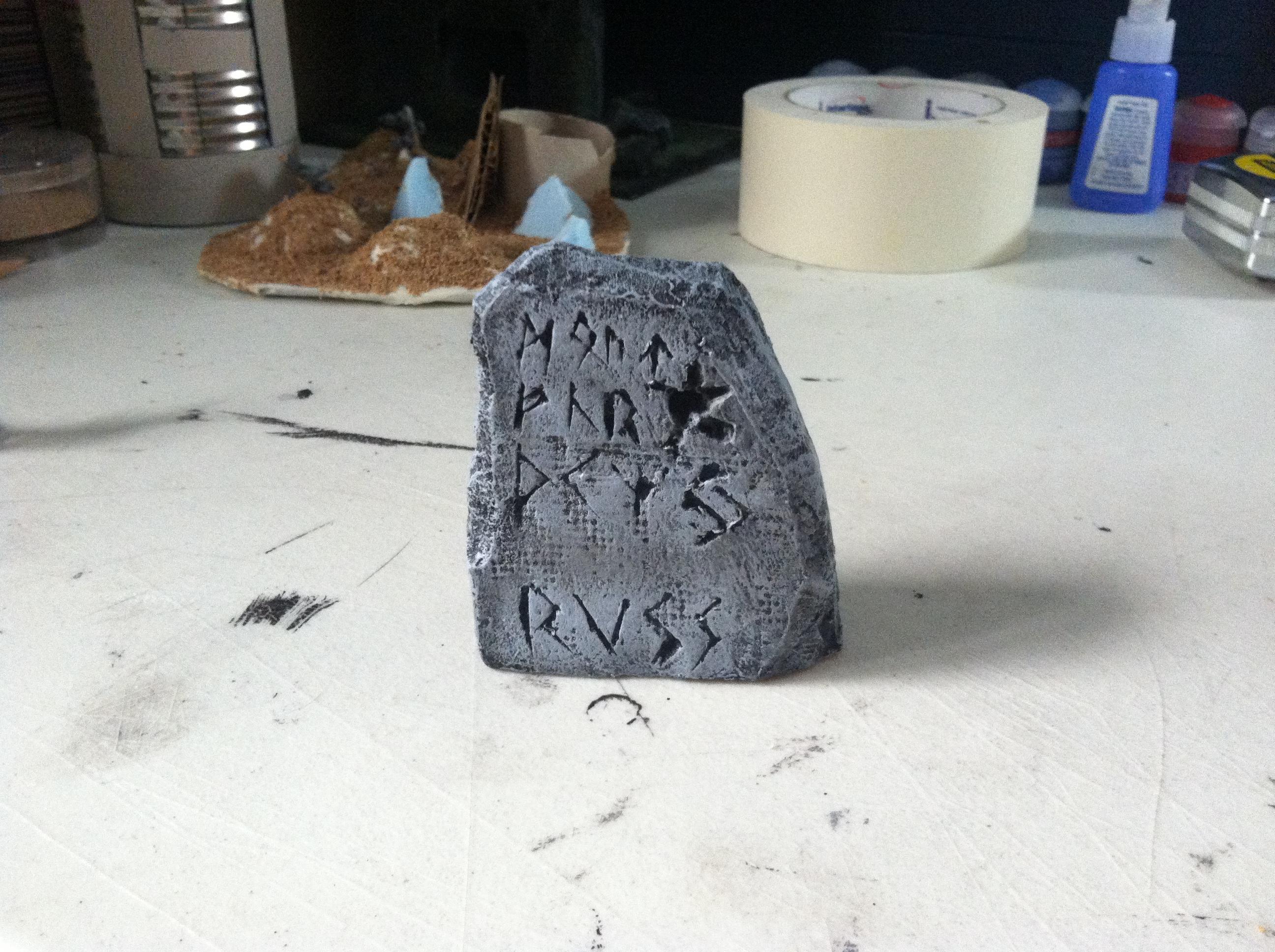 Beginner, Cardboard, Insulation, Painting, Rubble, Rune, Runestone, Space Wolves, Styrofoam, Terrain, Viking, Warhammer 40,000, Warhammer Fantasy