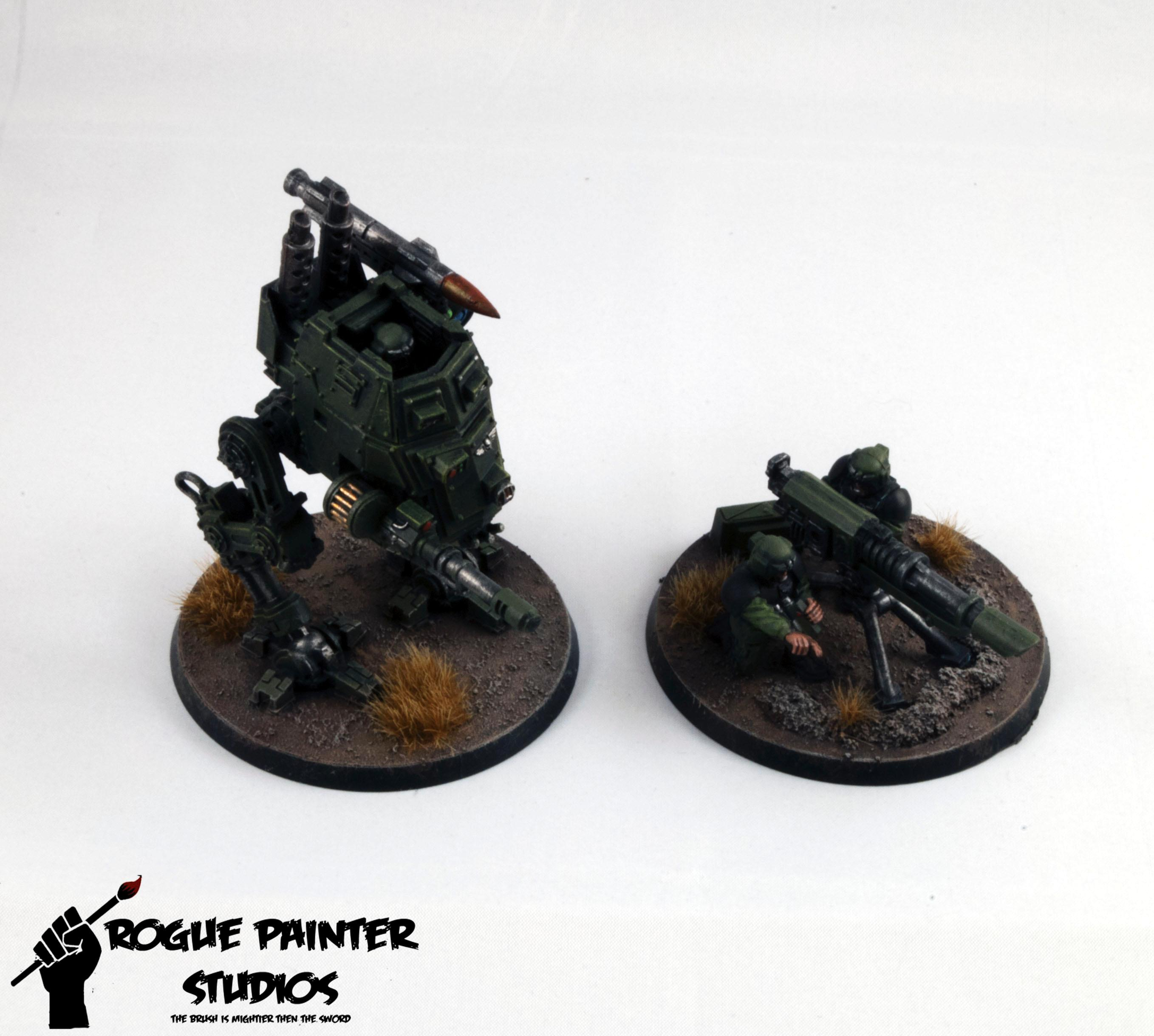 Base, Heavy Weapon, Imperial Guard, Imperium, Lascannon, Rogue Painter, Sentinel, Walker, Warhammer 40,000