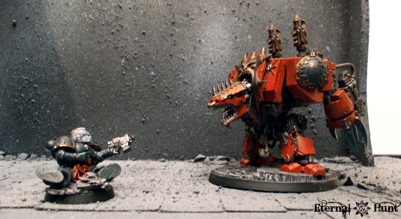 Chaos, Chaos Space Marines, Conversion, Custom, Dreadnought, Fallen Space Marine, Khorne, Objective Marker, Space Marines, Warhammer 40,000, World Eaters