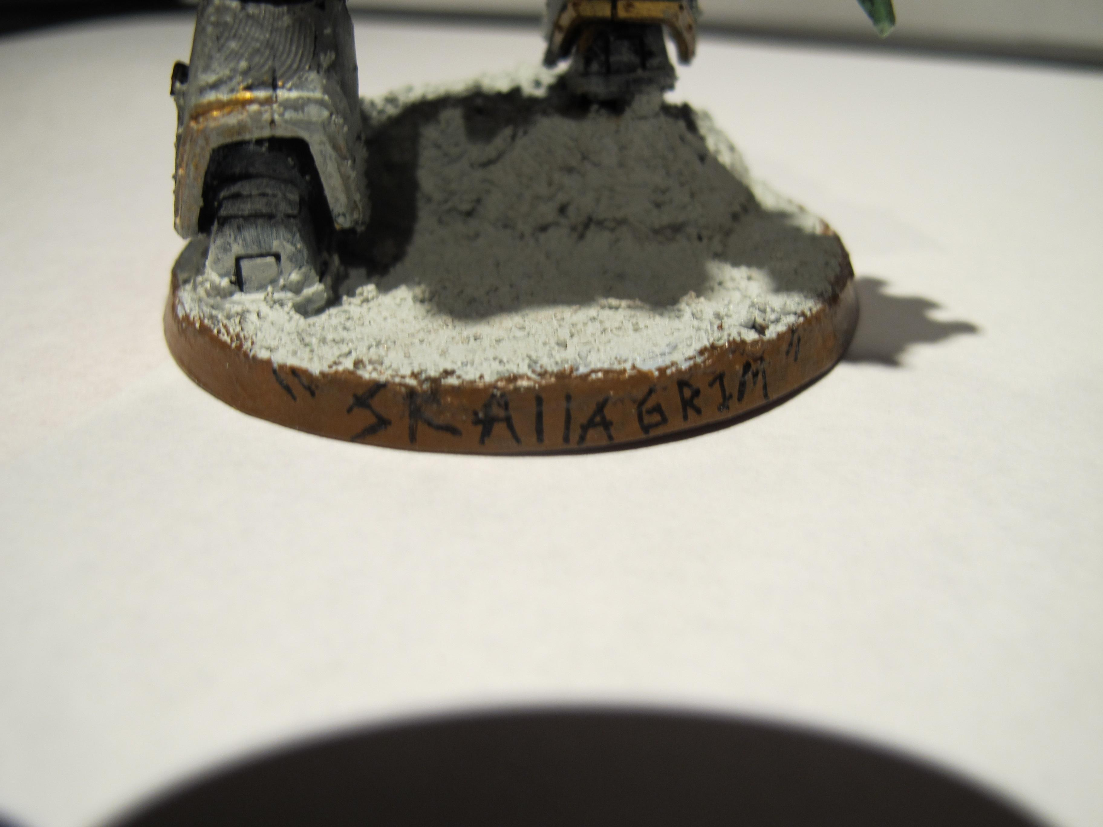 Dreadnought, The lettering on the back of his base. It came out well. Achieved with a Micron Pen